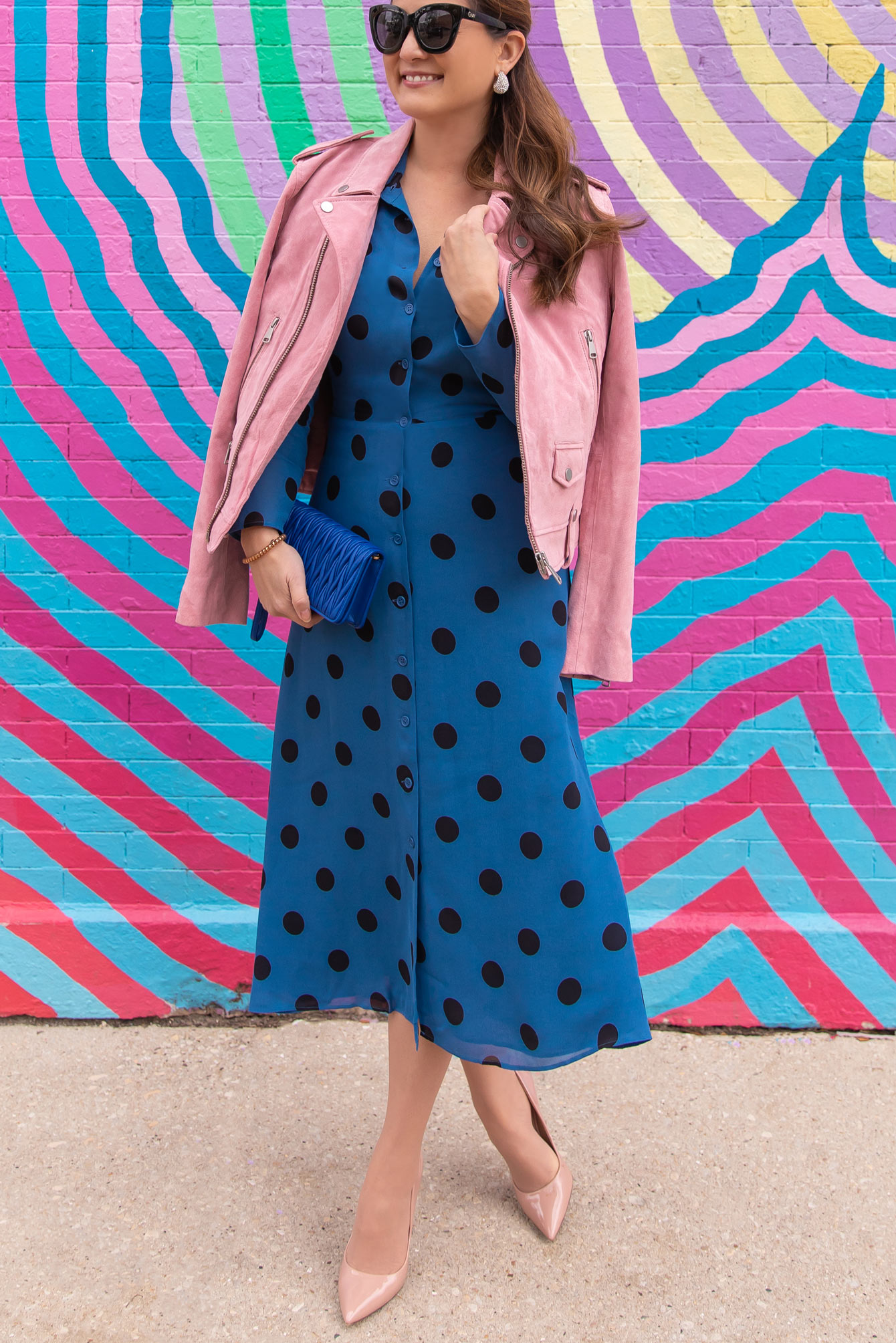 Reformation Blue Polka Dot Dress