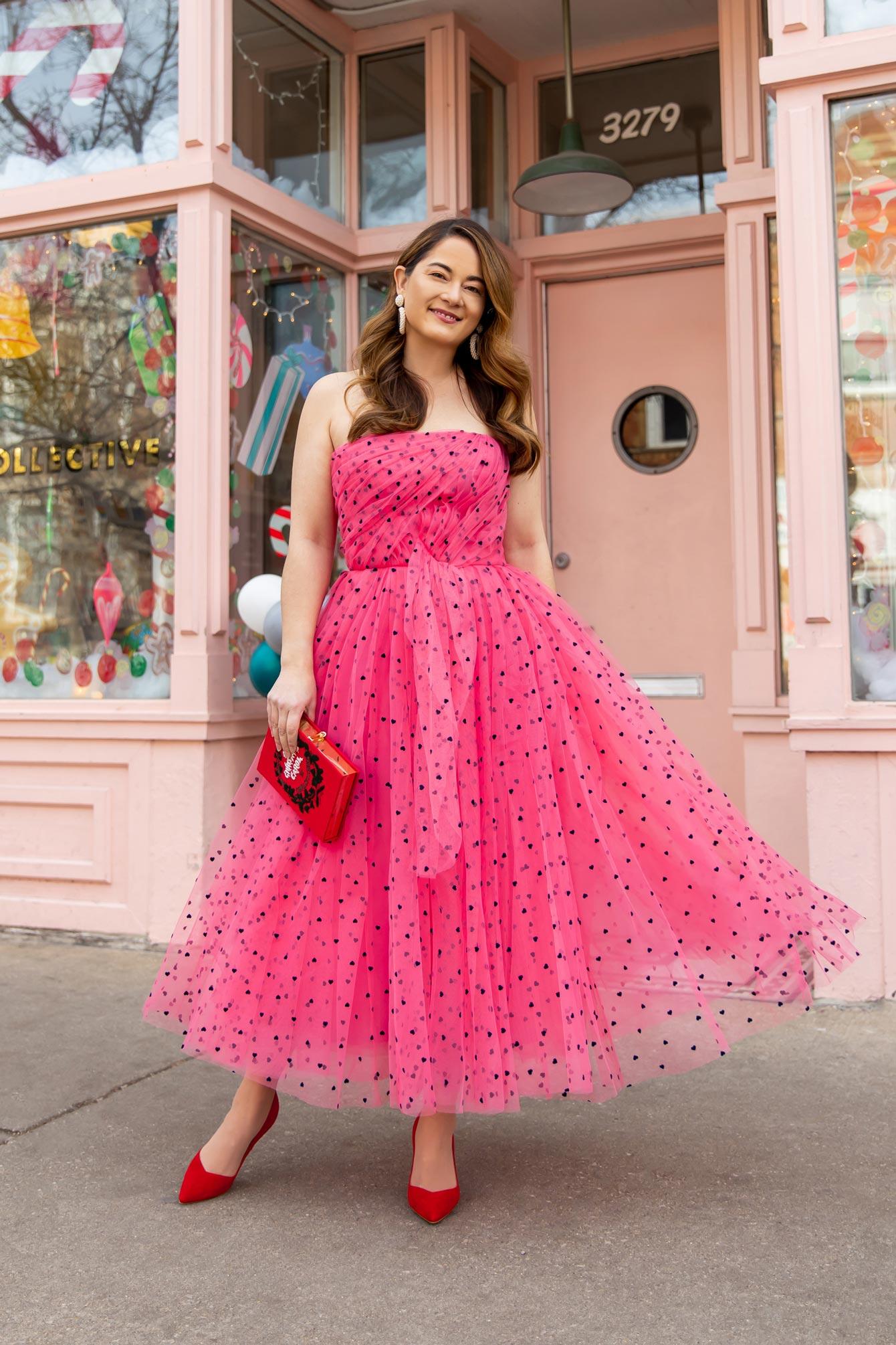 Carolina Herrera Heart Polka Dot Pink Dress