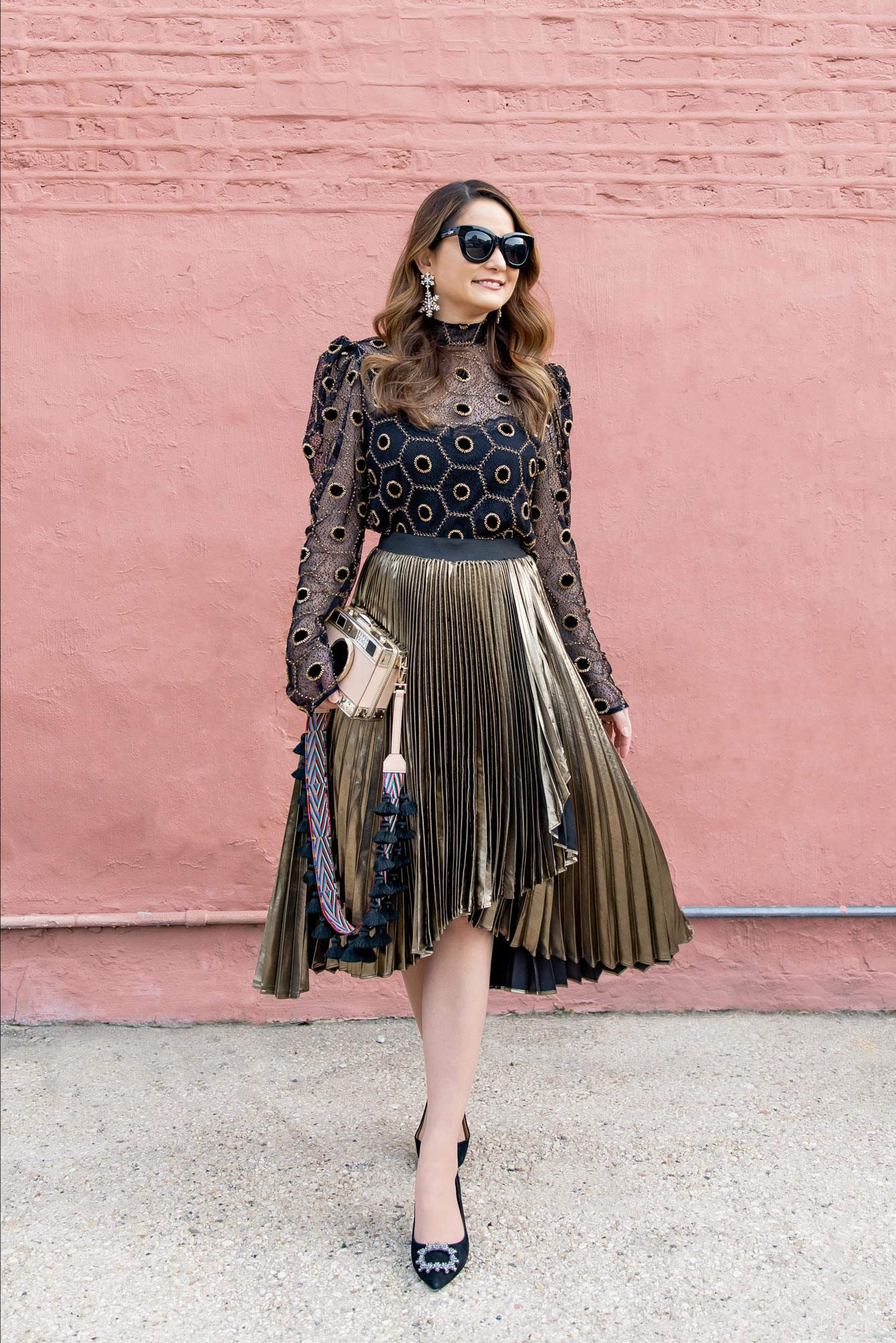 Halogen Atlantic-Pacific Metallic Pleated Skirt