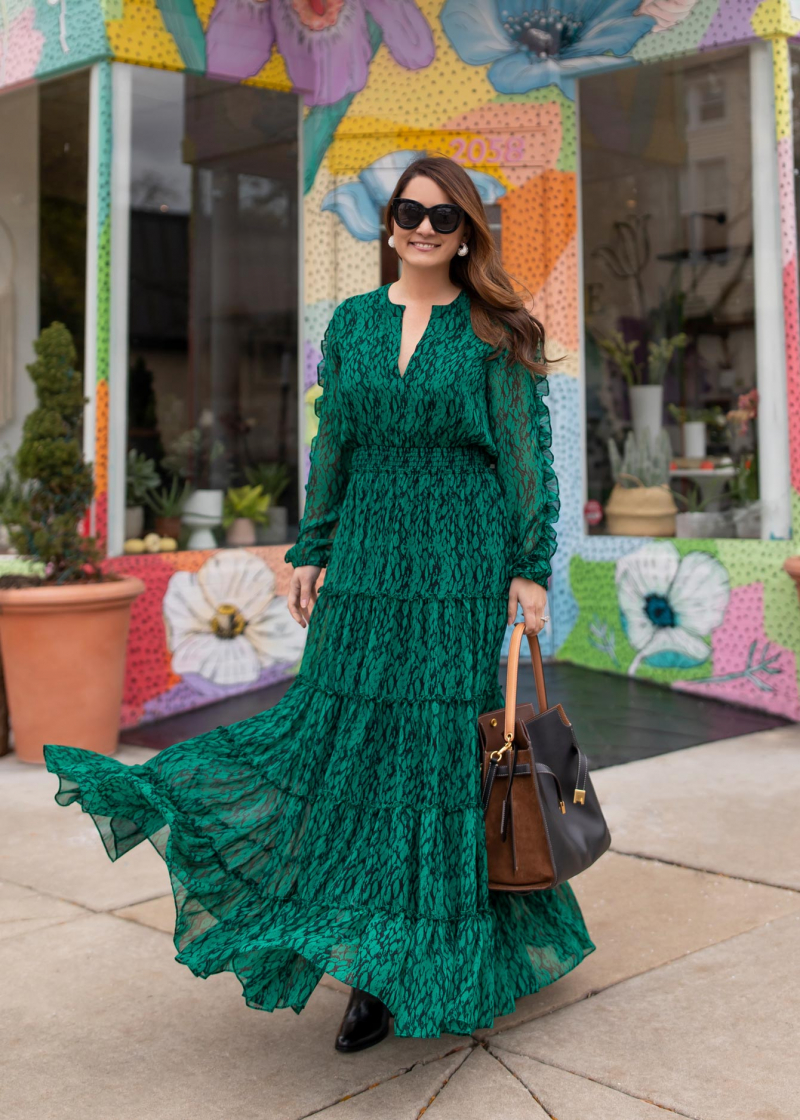 Jennifer Lake Green Maxi Dress