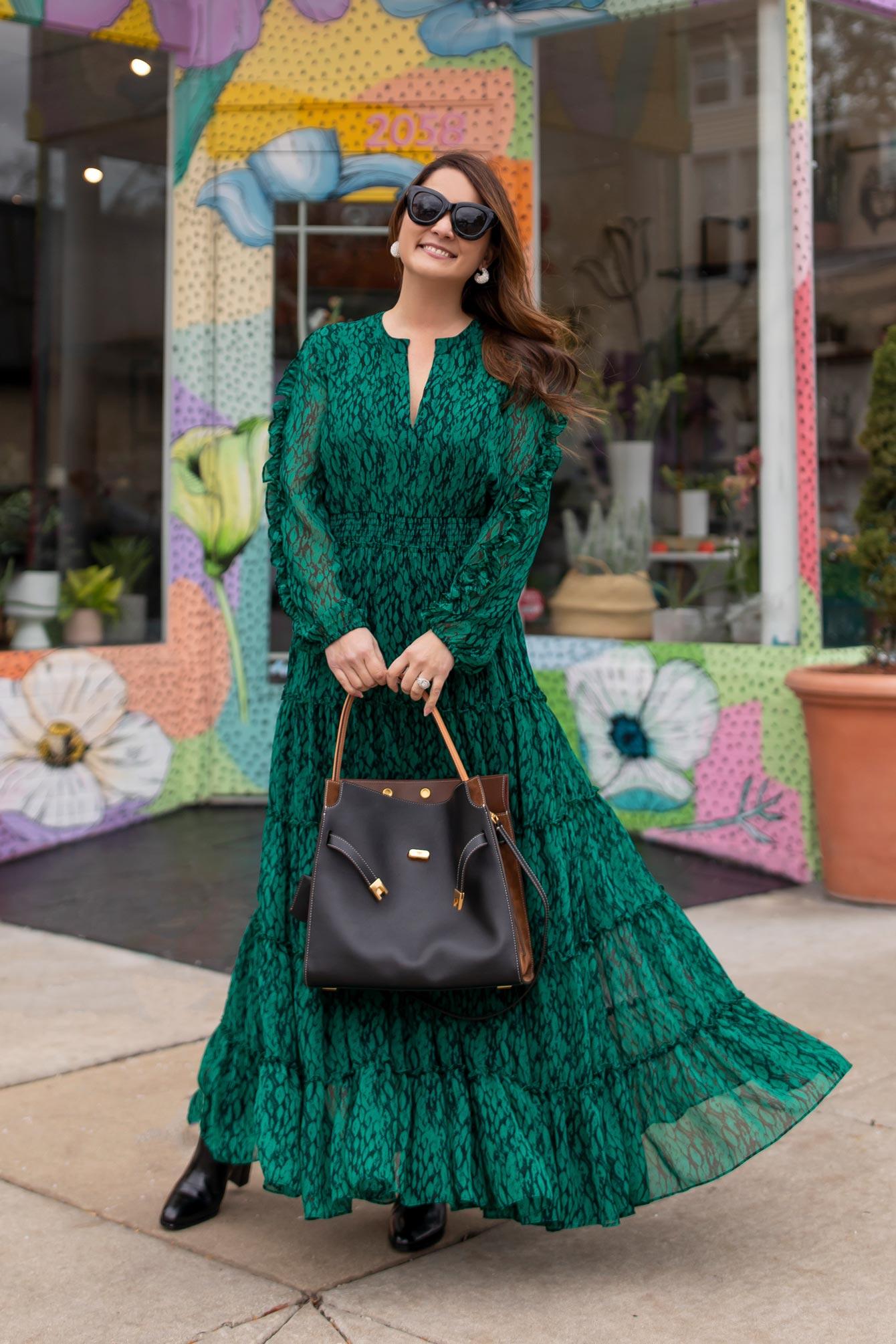 MISA Green Maxi Dress