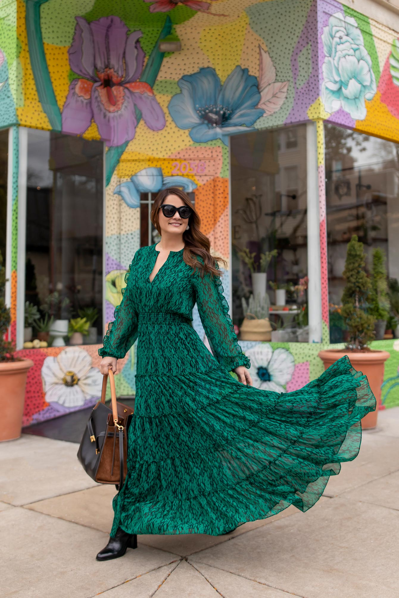 MISA Los Angeles Green Maxi Dress