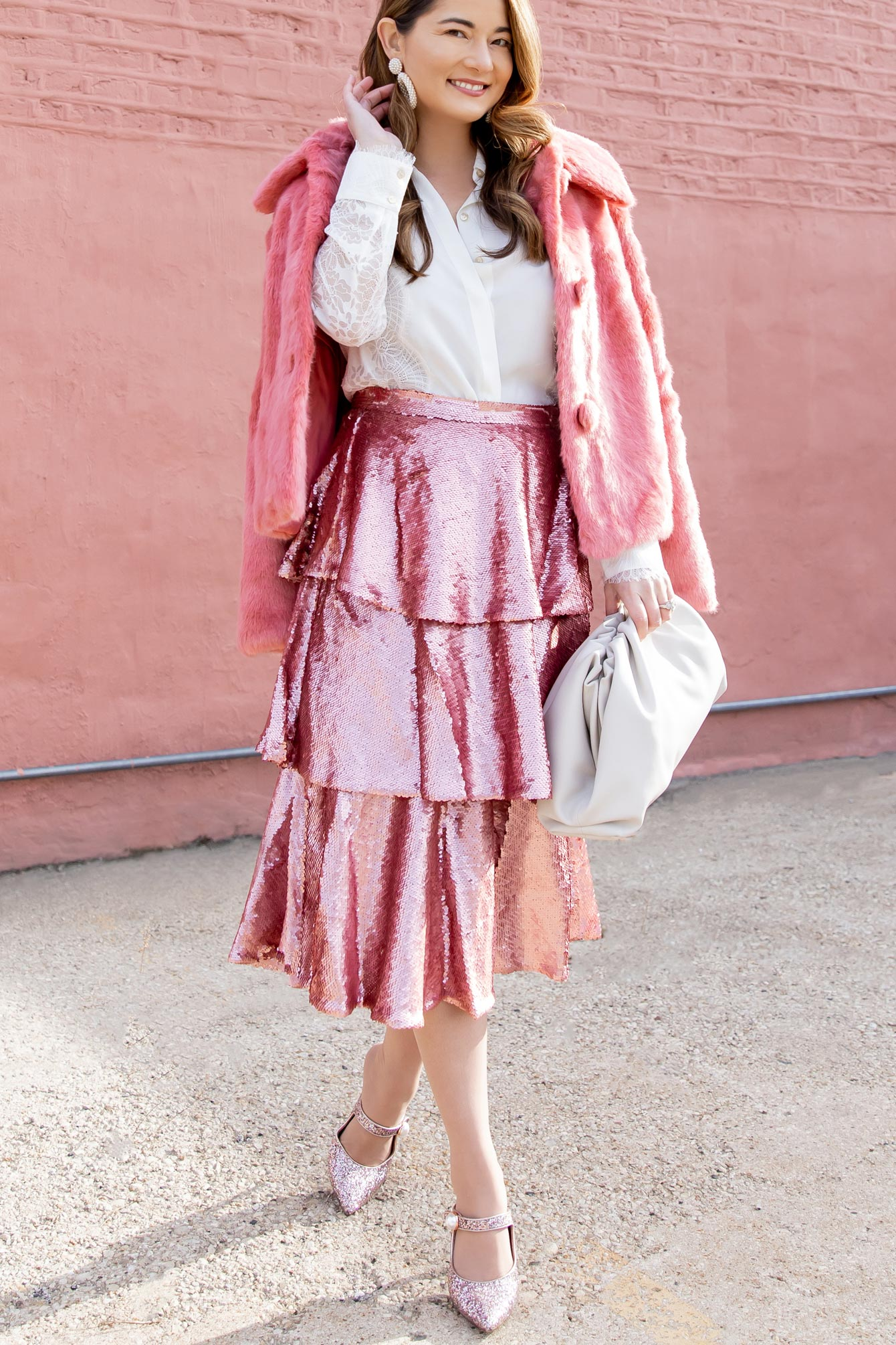 Rachel Parcell Pink Sequin Tiered Skirt