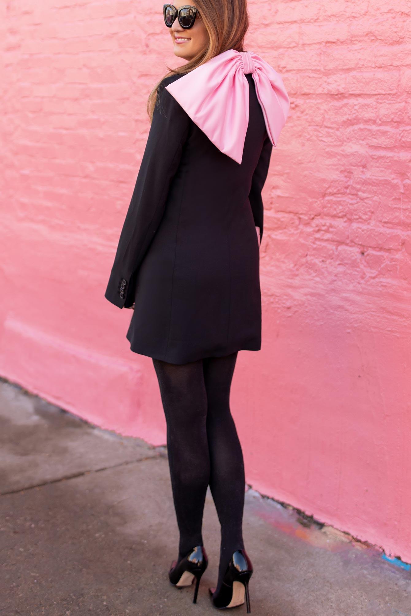 Zara Pink Bow Tuxedo Dress