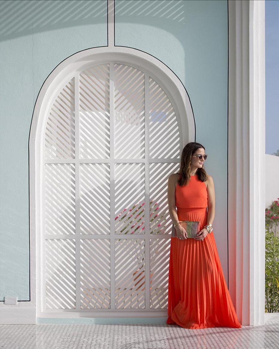Orange ASOS Pleated Dress