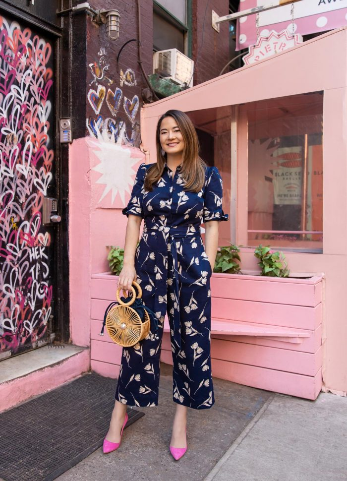 A Navy Floral Jumpsuit in NYC