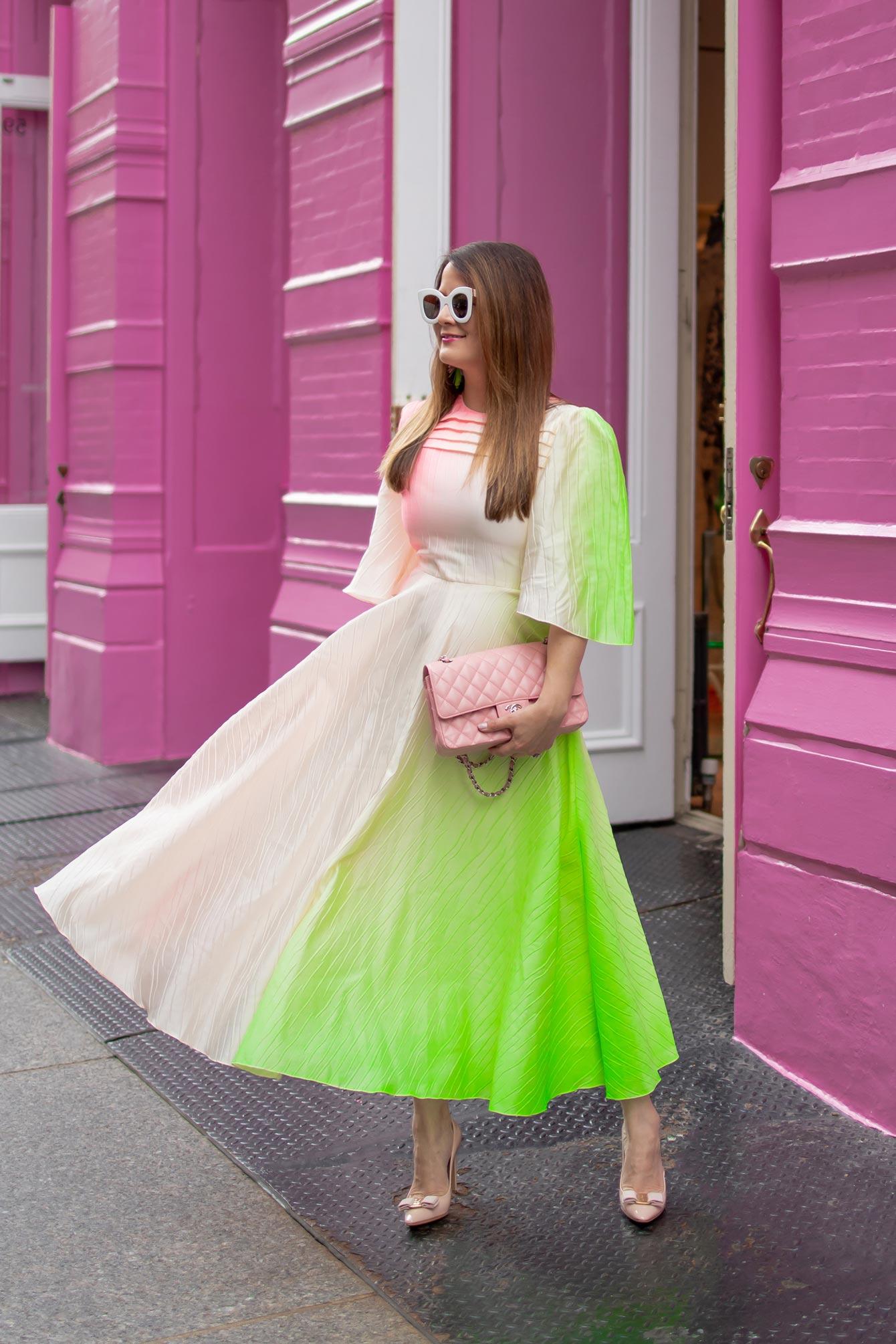 Roksanda Green Pink Midi Dress