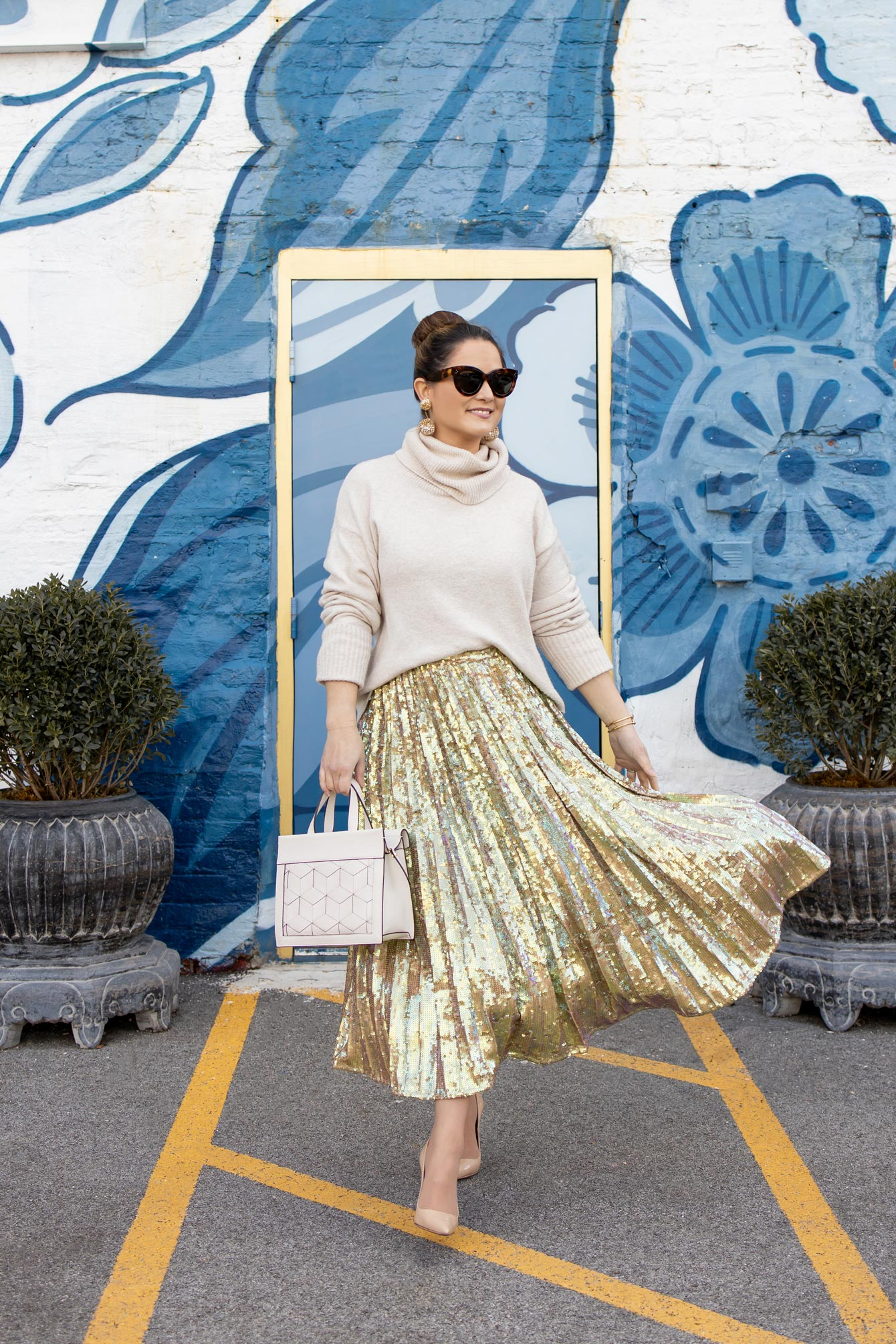 ASOS Sequin Pleated Skirt