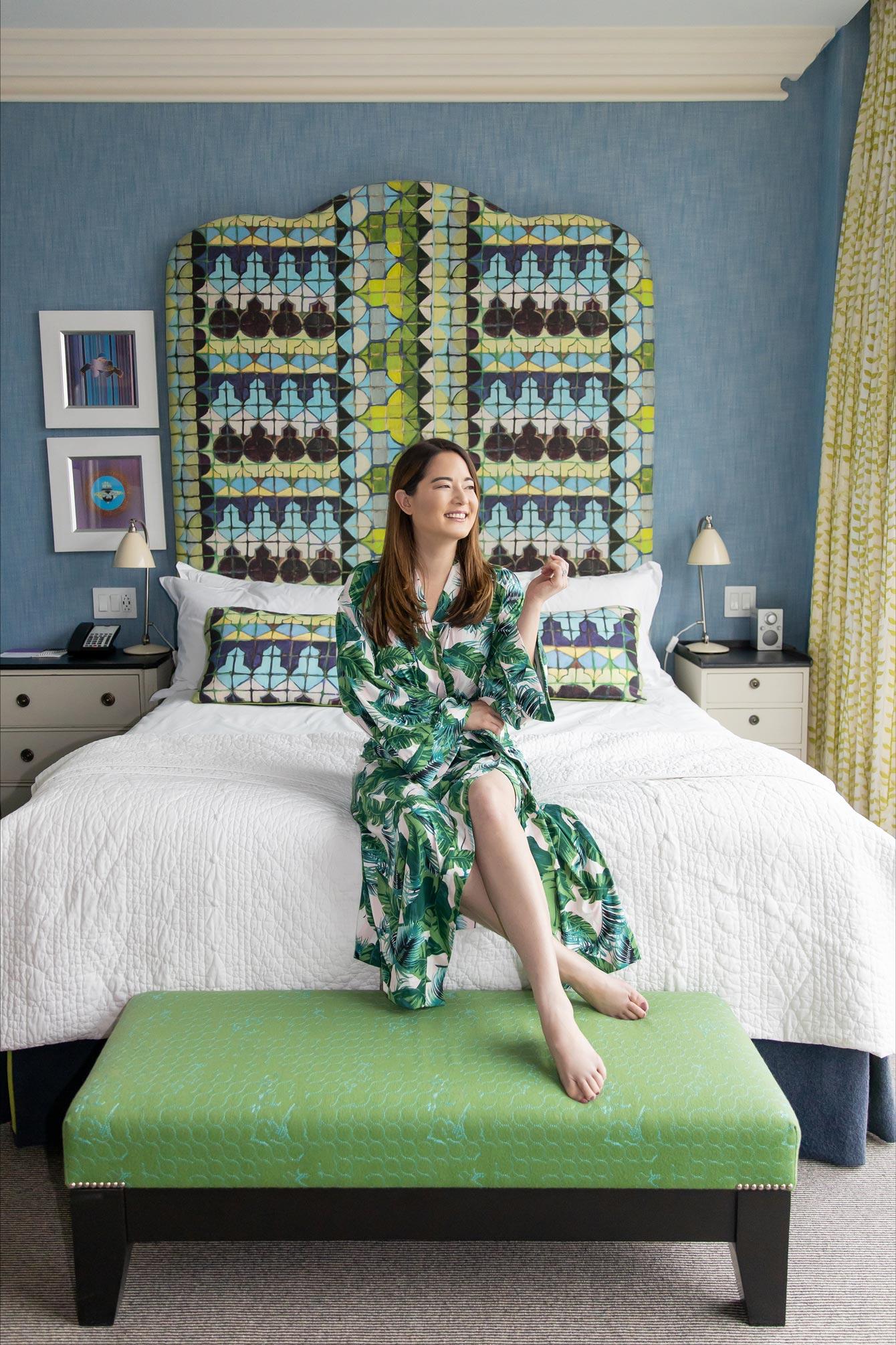 Jennifer Lake Palm Print Robe