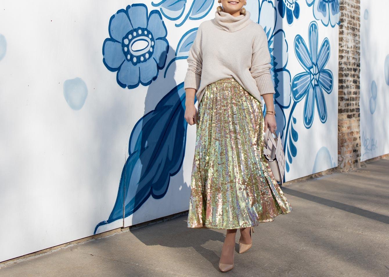 Jennifer Lake Sequin Pleated Skirt
