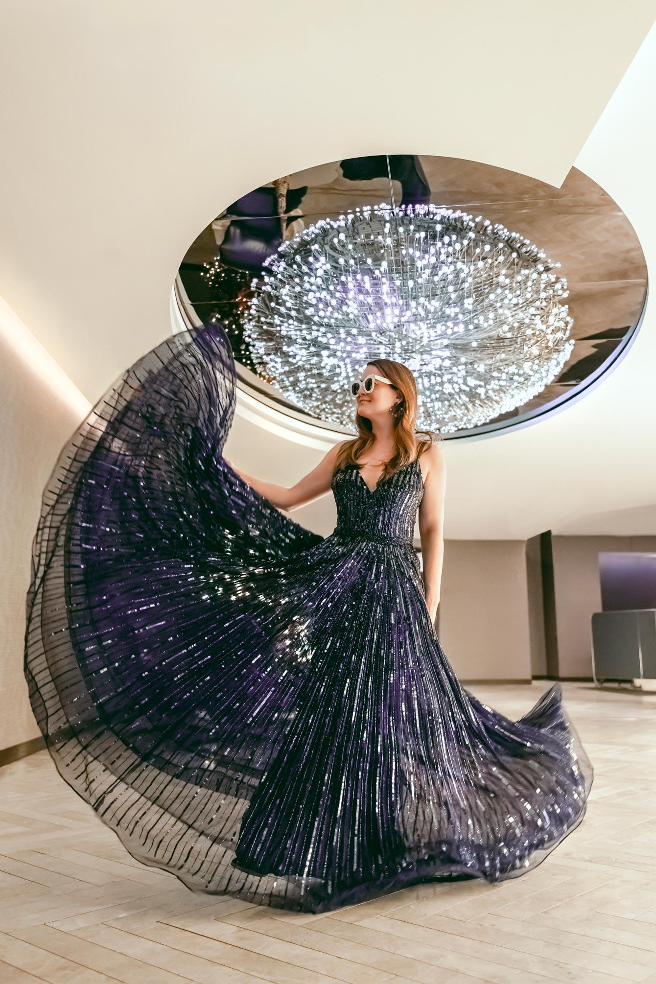 Mac Duggal Navy Sequin Gown
