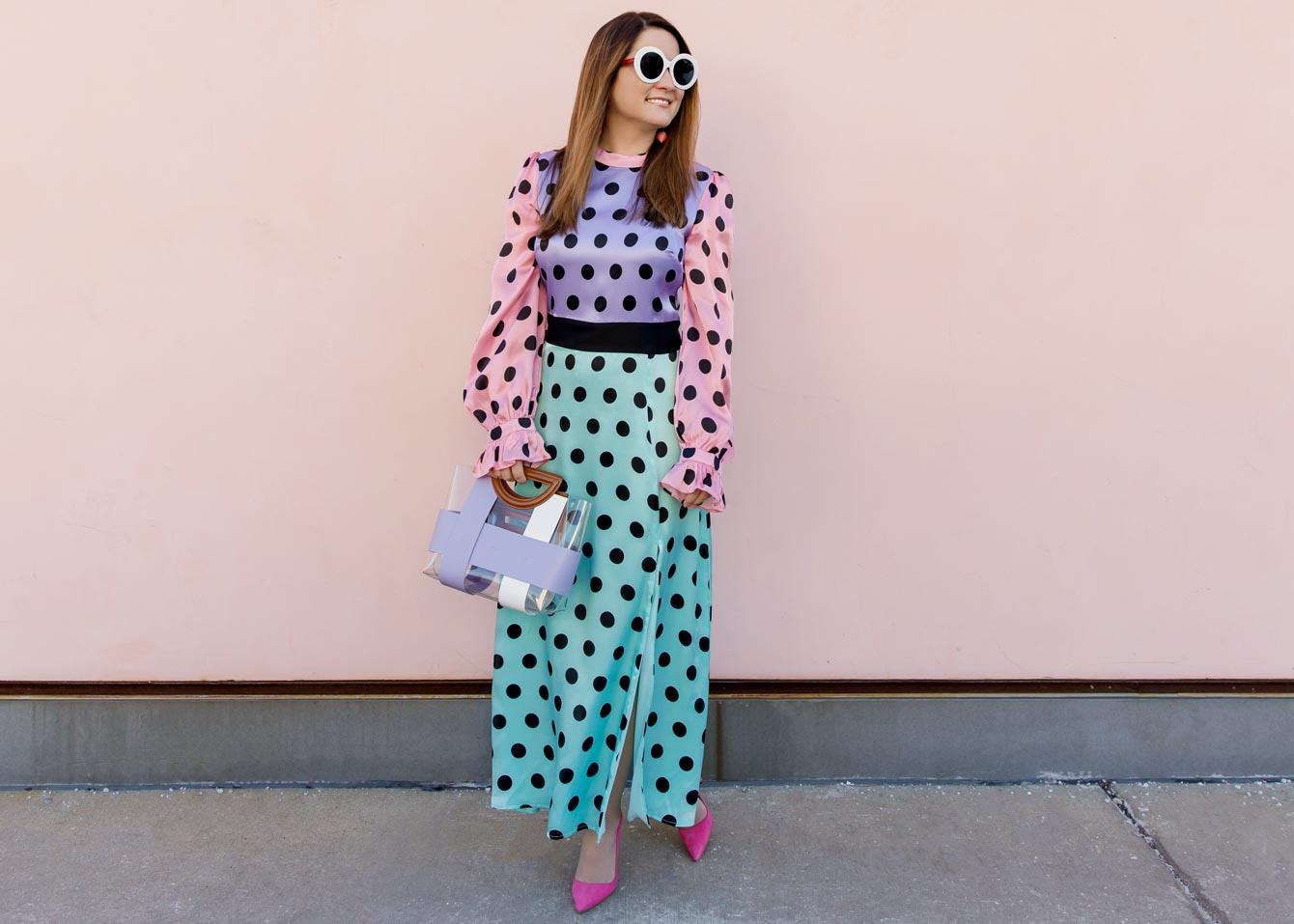 Olivia Rubin Polka Dot Midi Dress