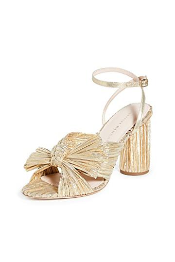 Loeffler Randall Camellia Knot Mules Gold