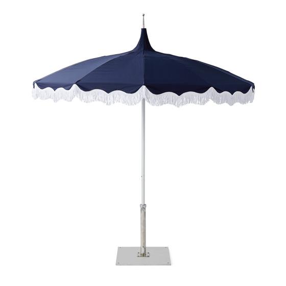 Navy Fringe Umbrella