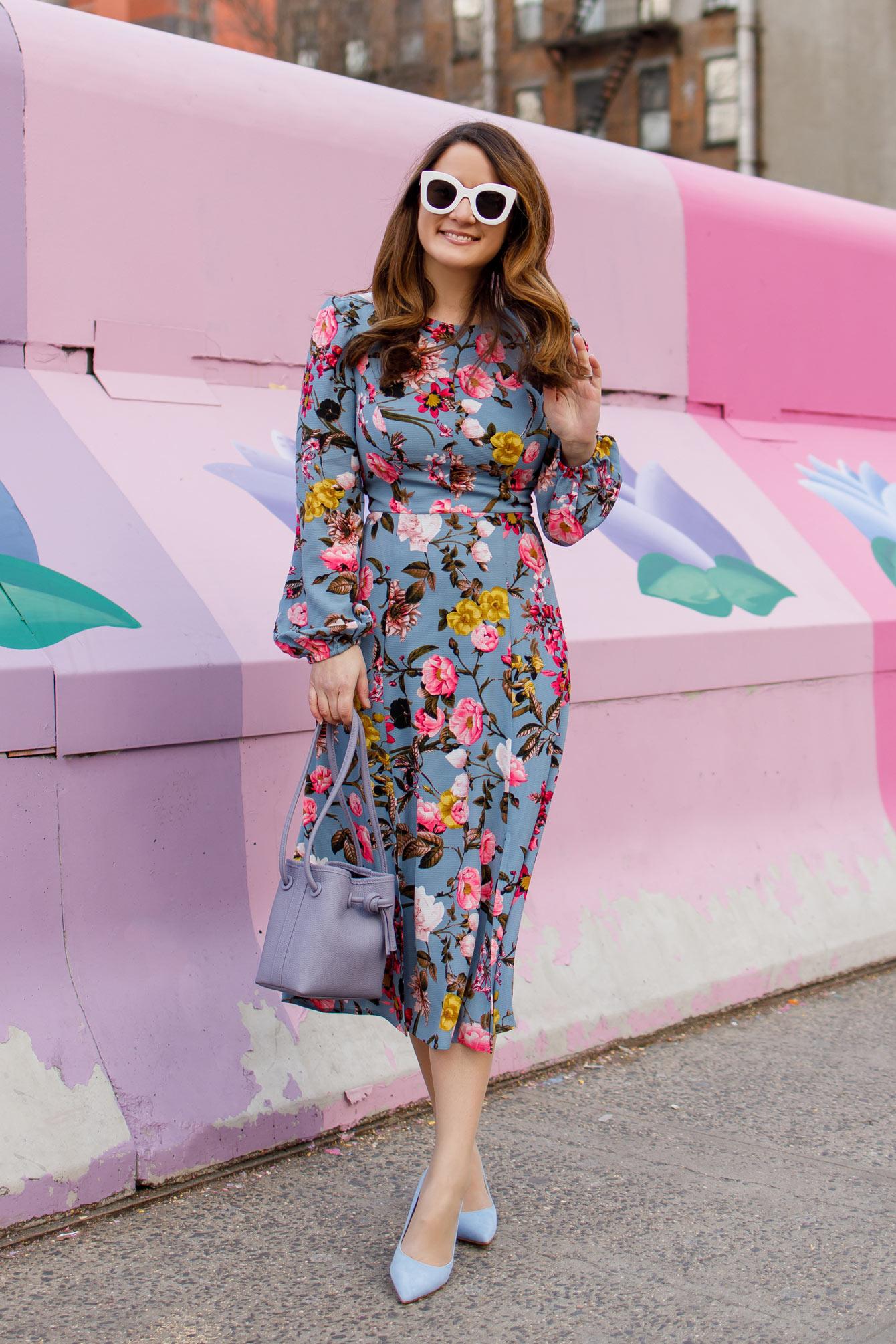 Eliza J Blue Floral Print Midi Dress