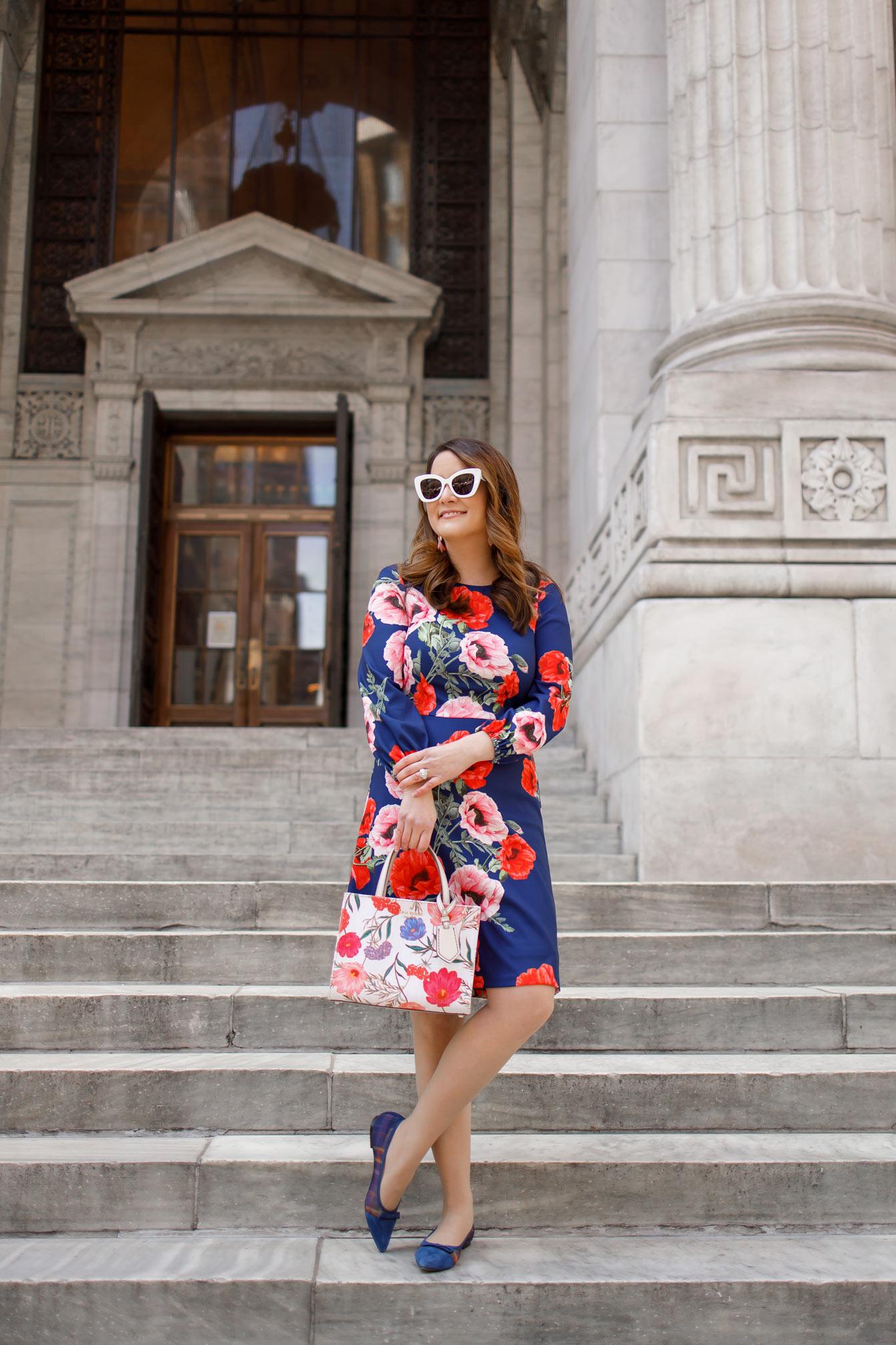 Eliza J Floral Blouson Sleeve Dress