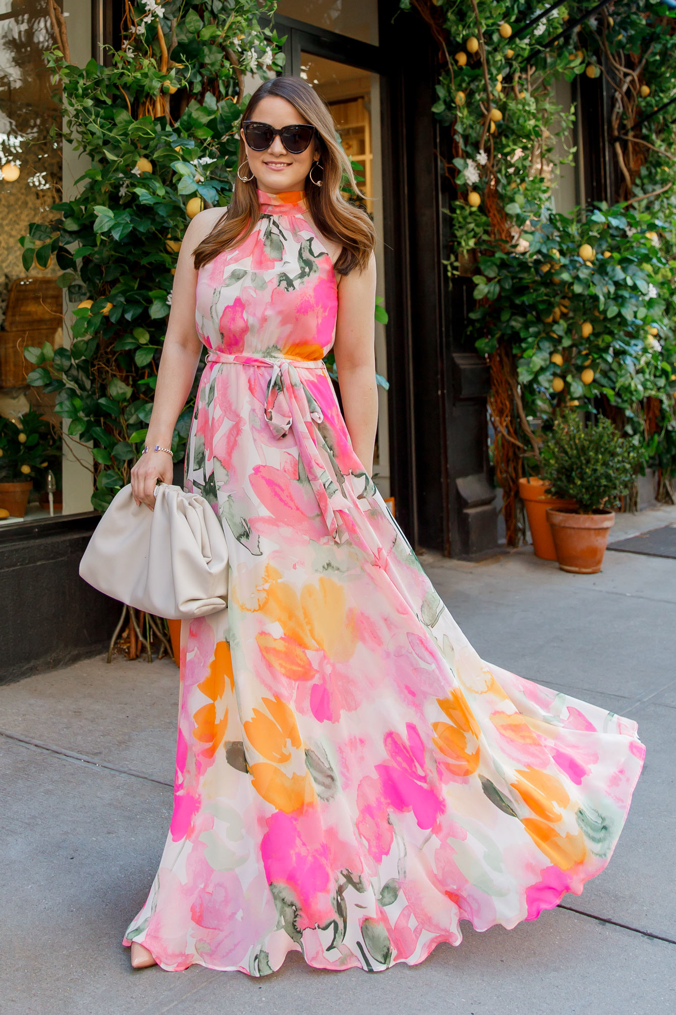 Eliza J Pink Orange Floral Halter Maxi Dress