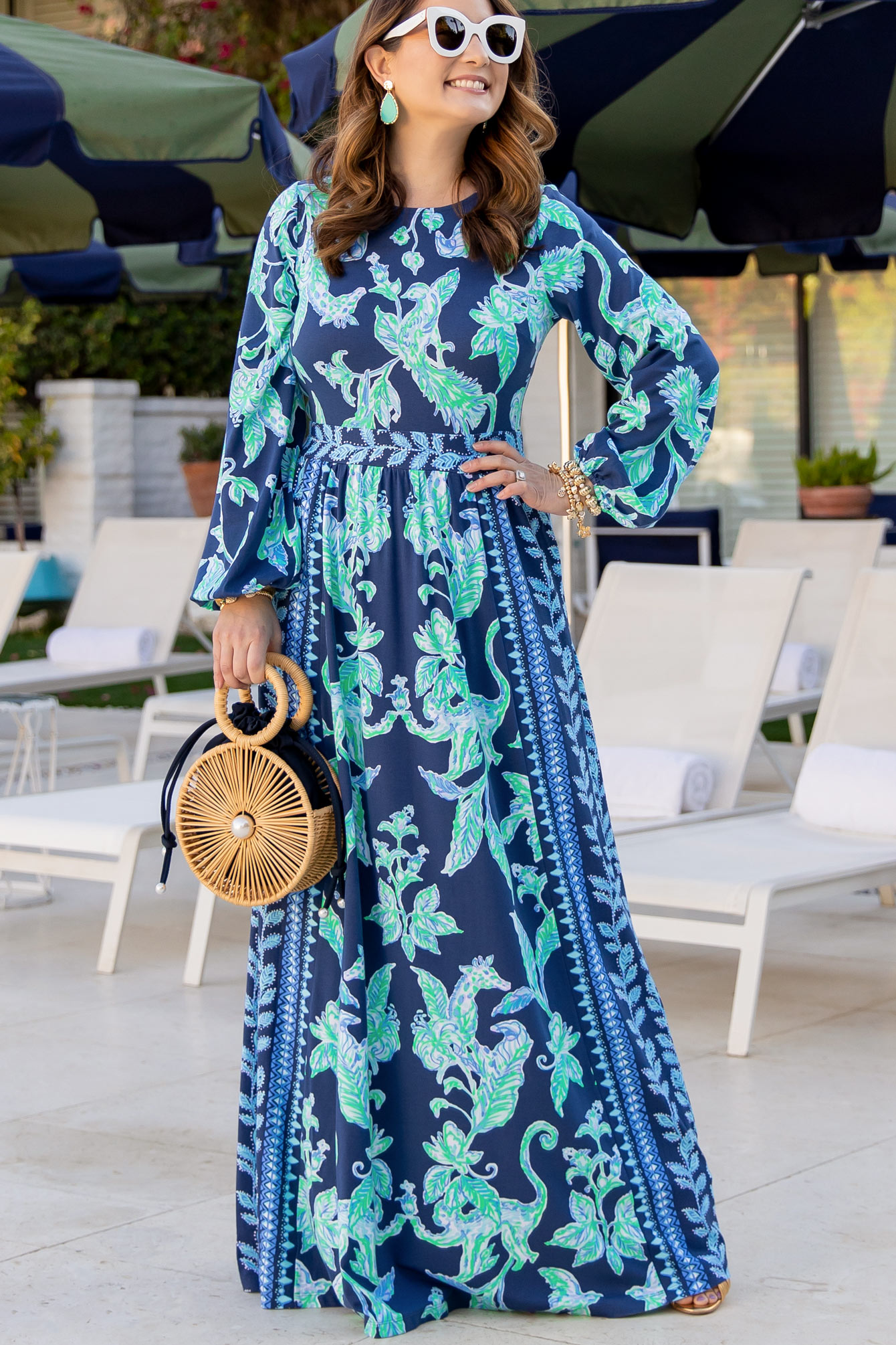 Jennifer Lake Lilly Pulitzer Blue Turquoise Maxi Dress