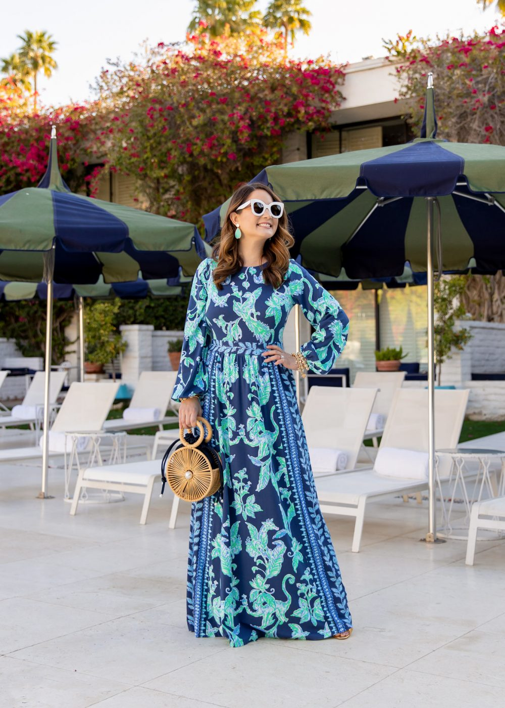 Lilly Pulitzer Blue Printed Maxi Dress