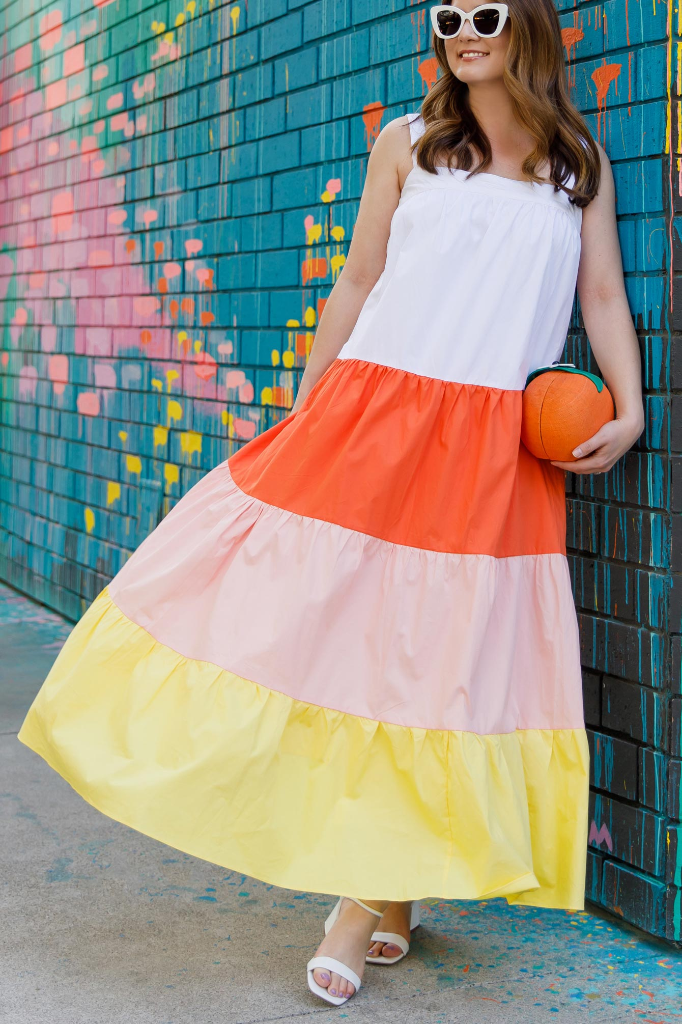 Orange Yellow Tiered Dress