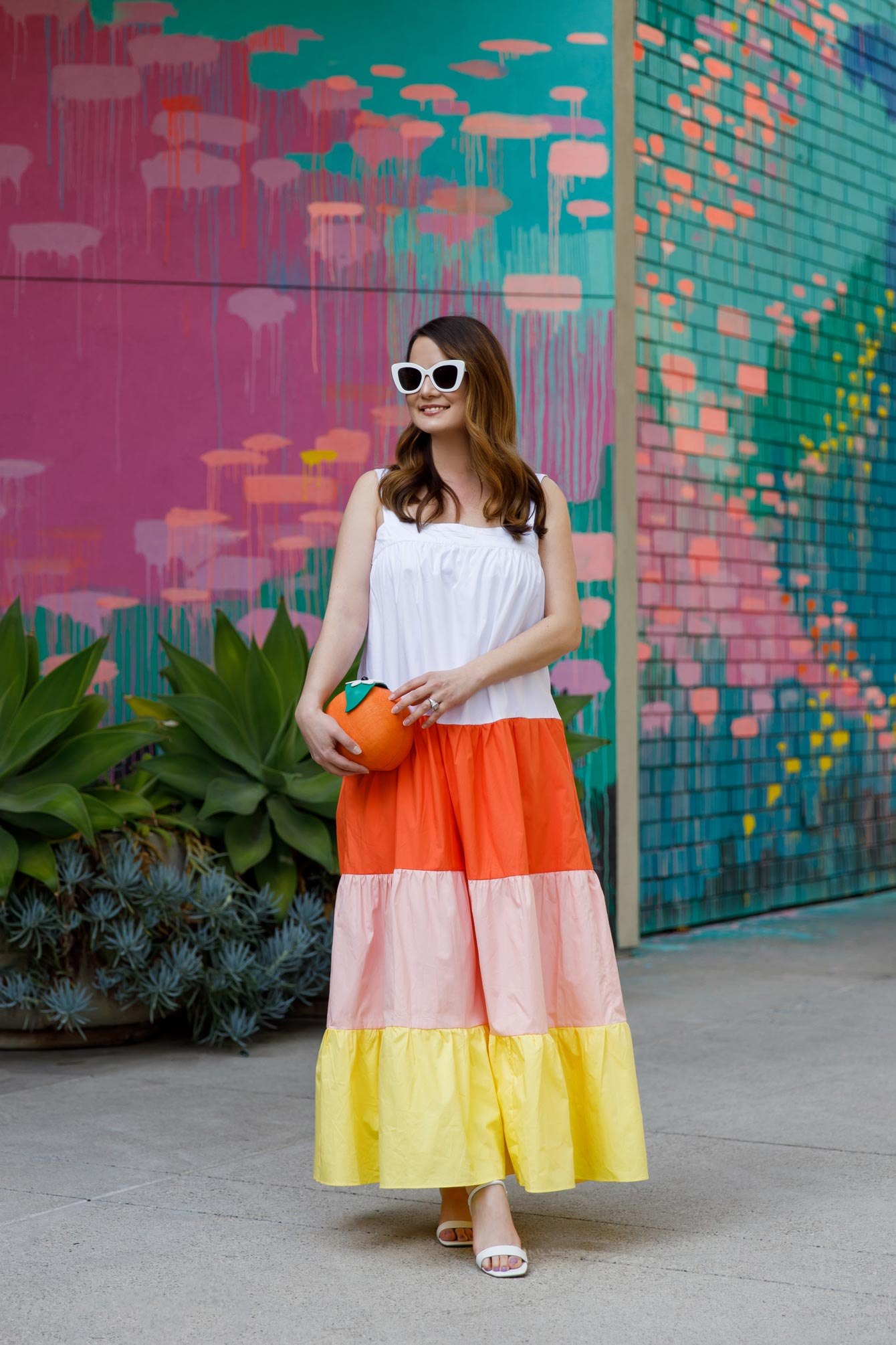 Orange Yellow Tiered Maxi Dress
