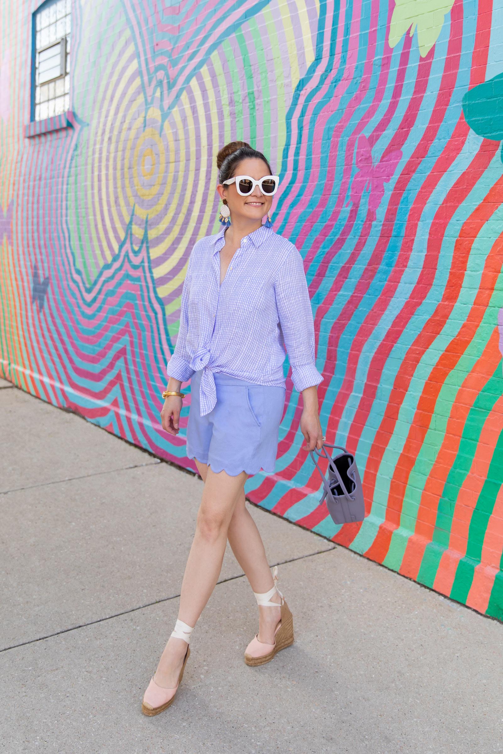 Jennifer Lake Purple Scallop Shorts