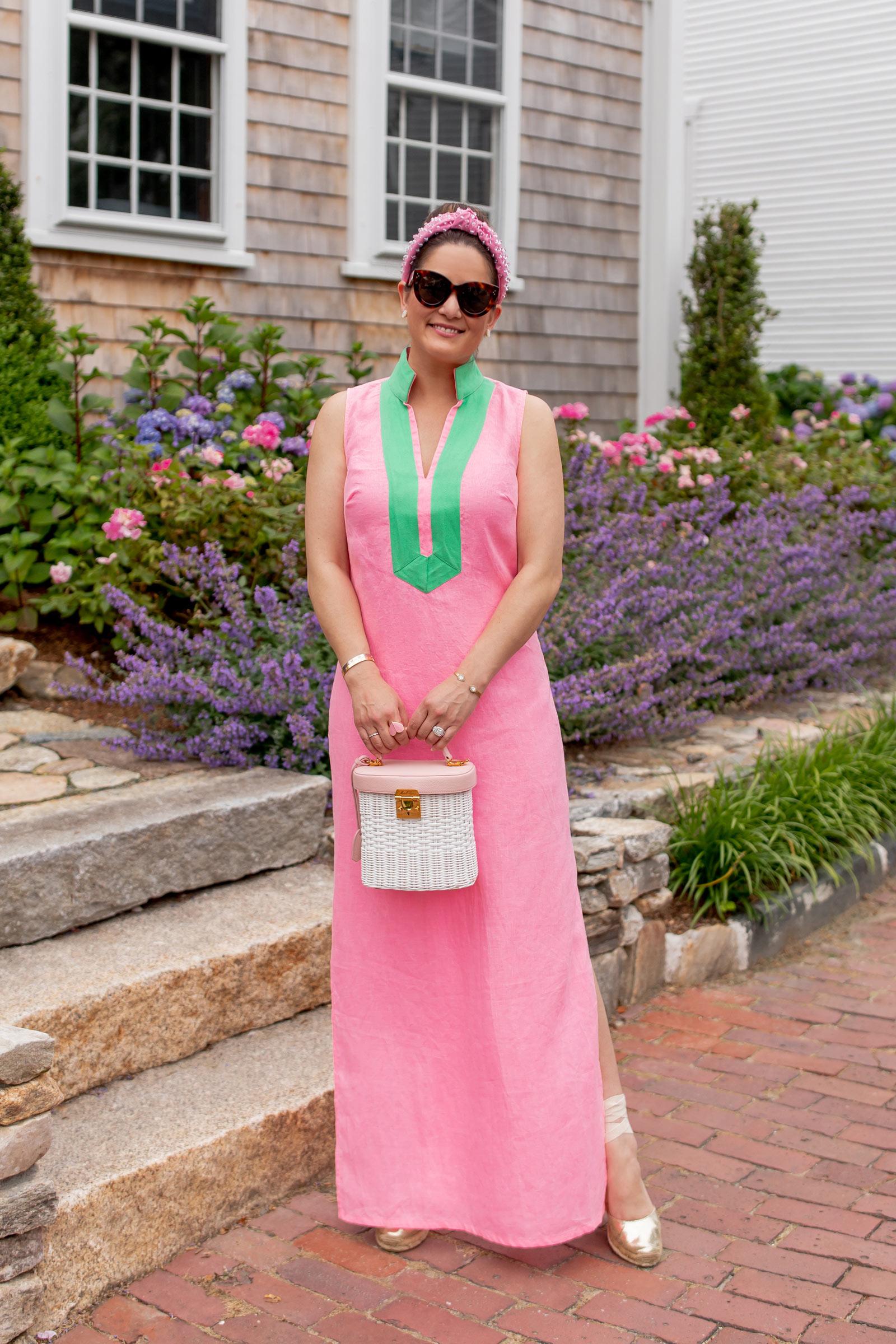 Jennifer Lake Sail to Sable Pink Tunic Maxi Dress