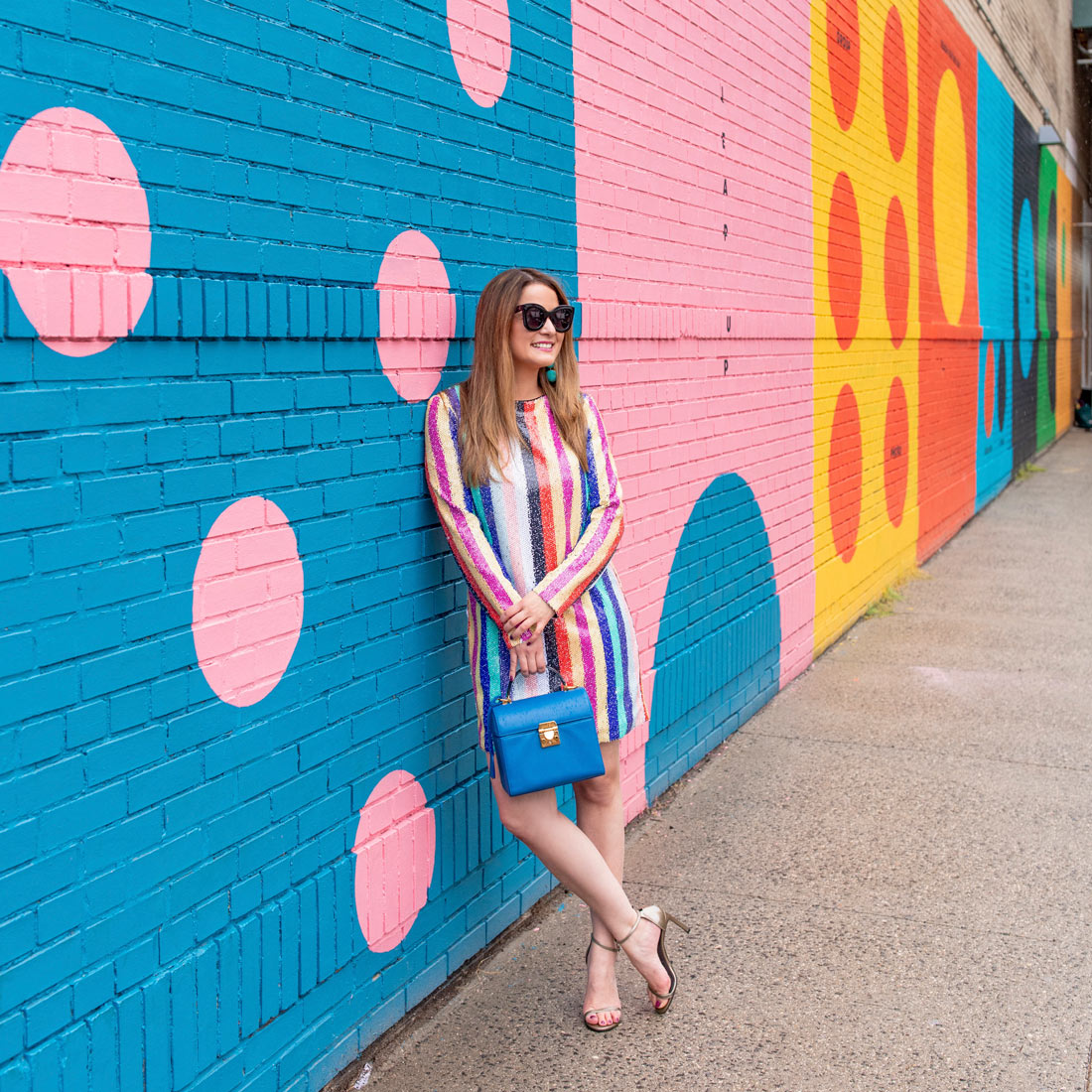 Pink Blue Polka Dot Mural Color Factory New York