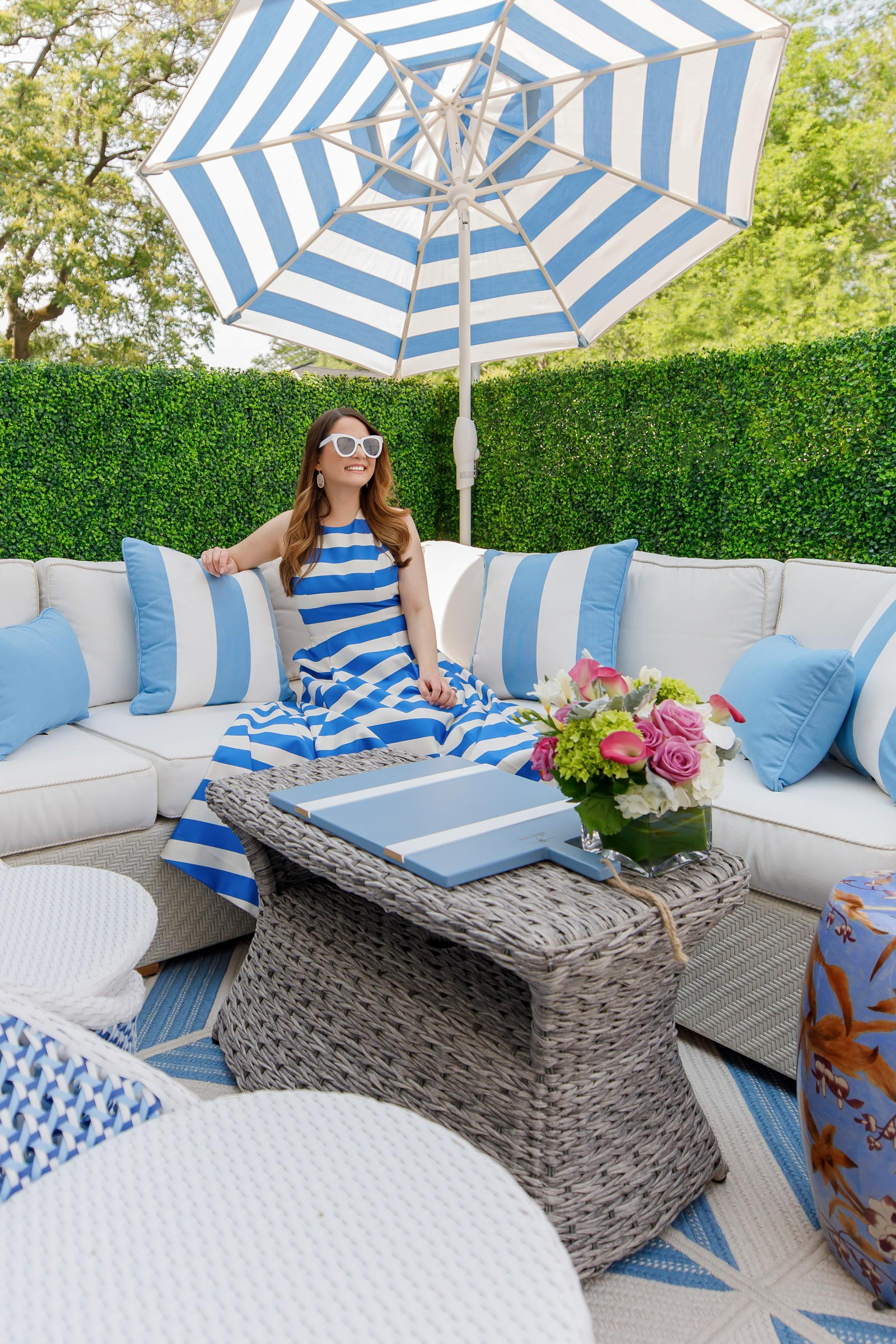 Frontgate Blue Stripe Umbrella