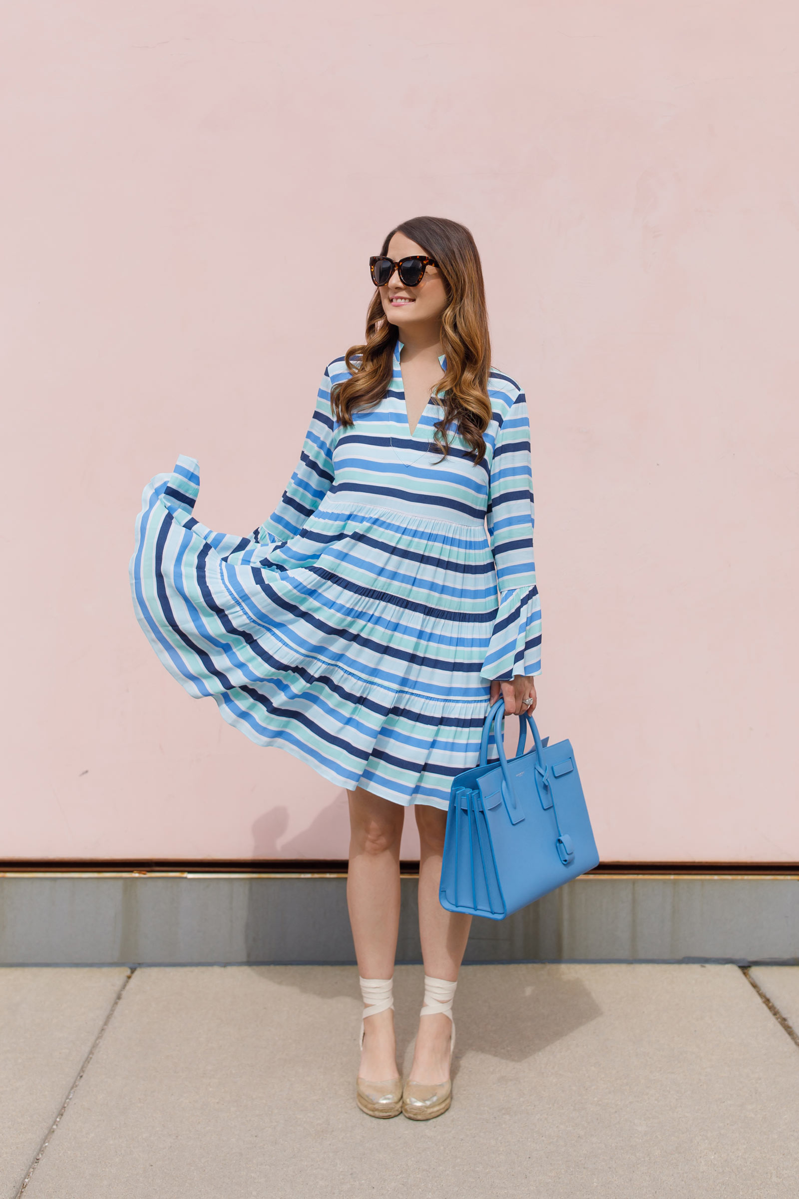 Jennifer Lake Blue Stripe Trapeze Dress