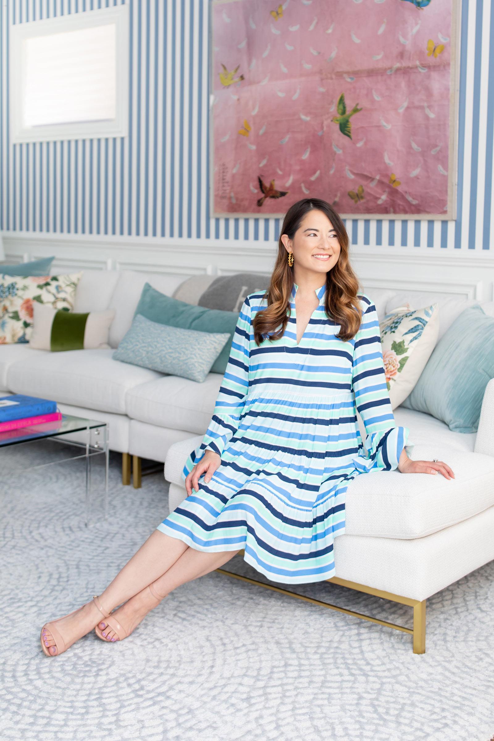 Jennifer Lake Charlotte Dress Blue Stripe