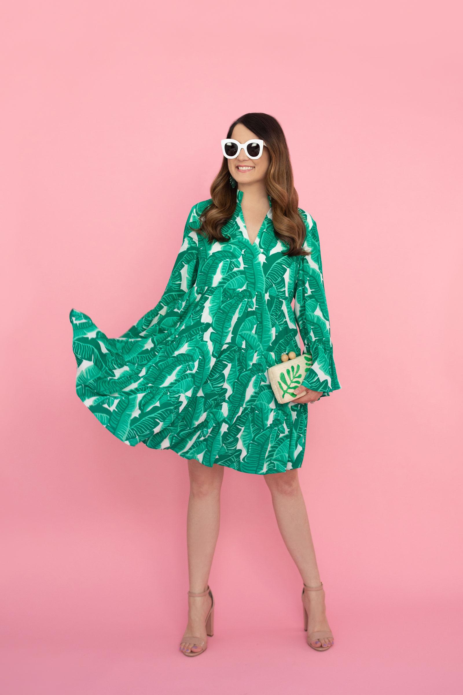 Jennifer Lake Leaf Print Dress