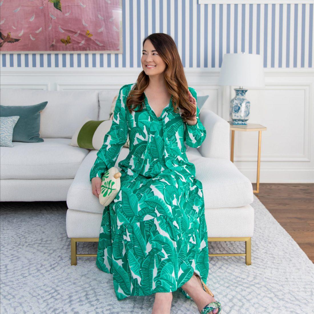 Jennifer Lake Palm Print Dress