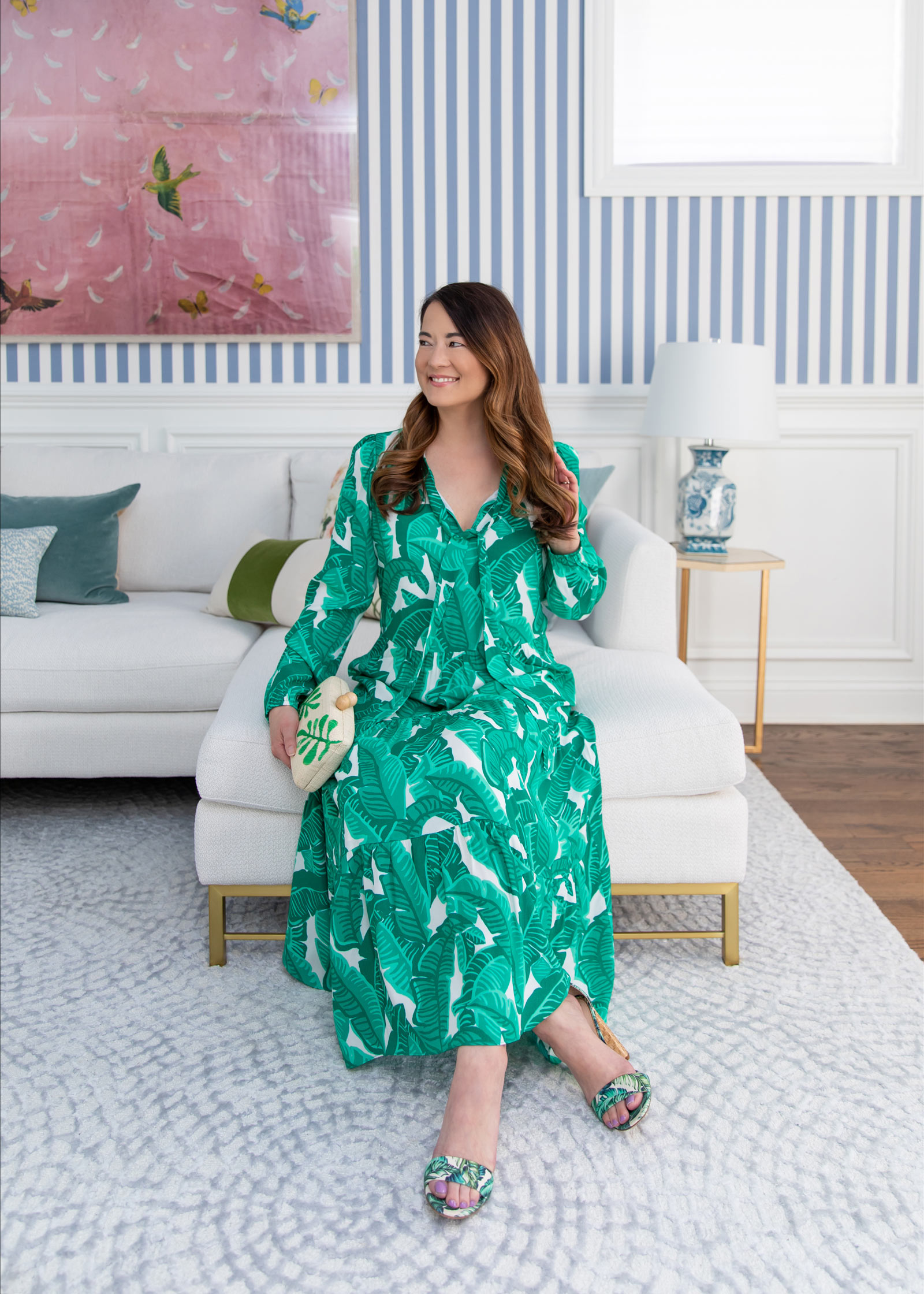 Jennifer Lake Palm Print Dress