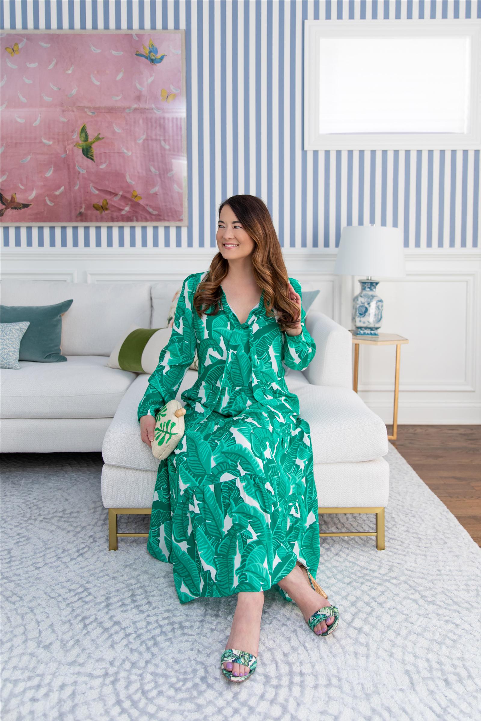 Jennifer Lake Sail to Sable Anne Palm Print Dress