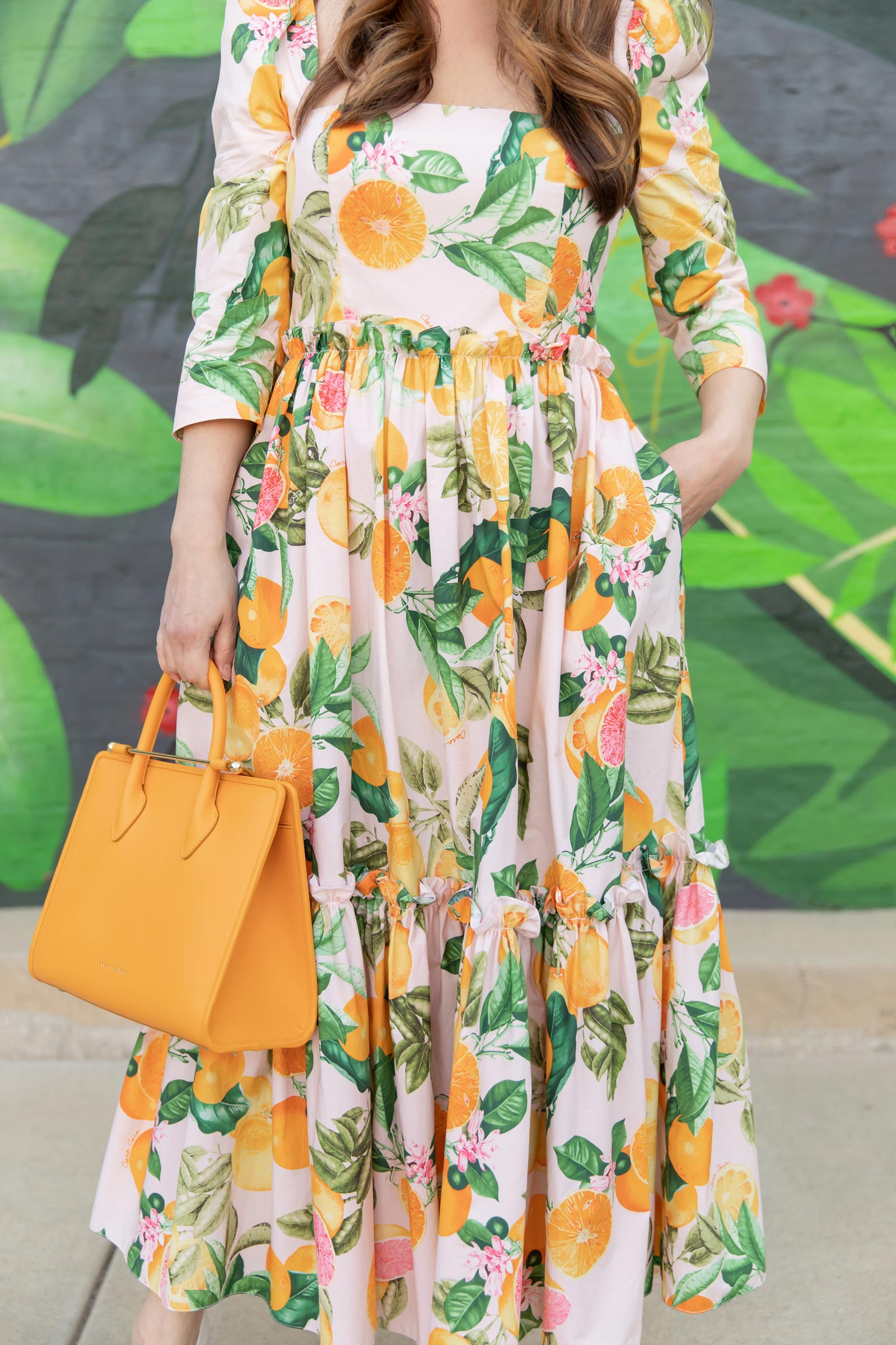 Orange Grapefruit Print Dress