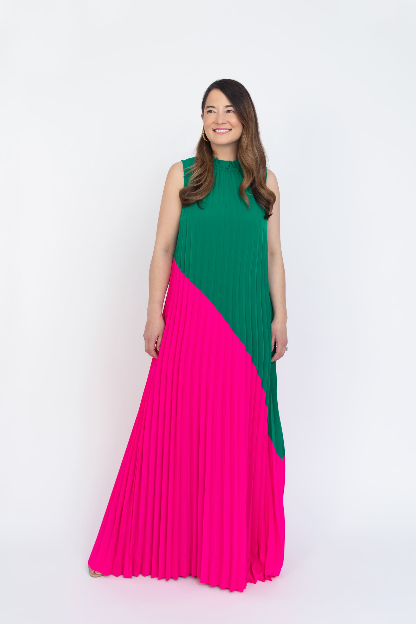 Sail to Sable Emma Pleated Maxi Pink Green Dress