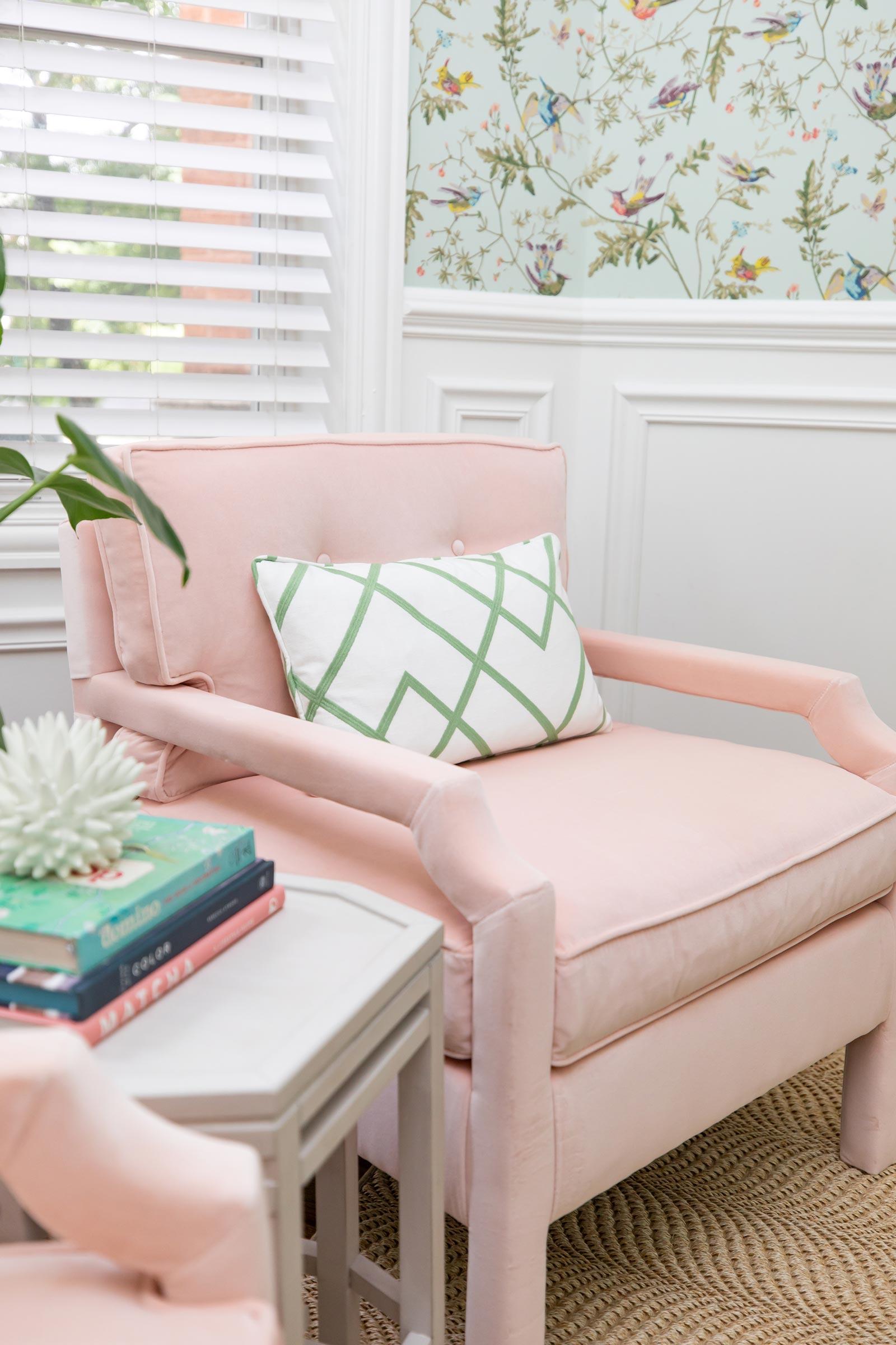 Ballard Pink Velvet Robbie Chair