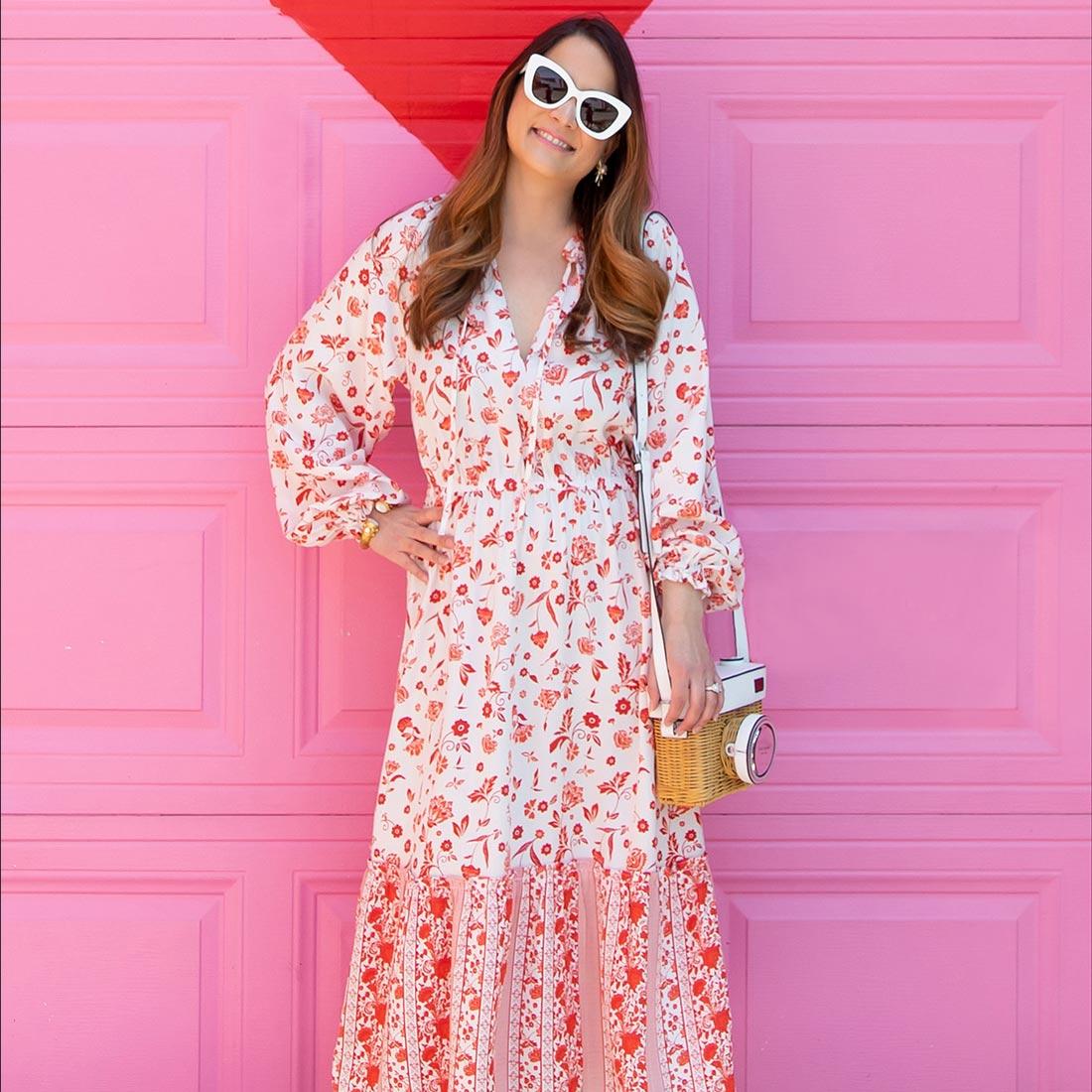Jennifer Lake Grace Atwood Amazon Drop Red Print Dress