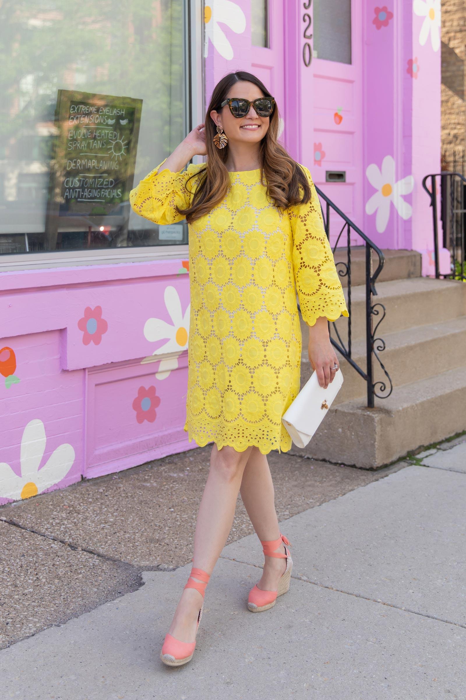Jennifer Lake Lilly Pulitzer Yellow Lace Dress