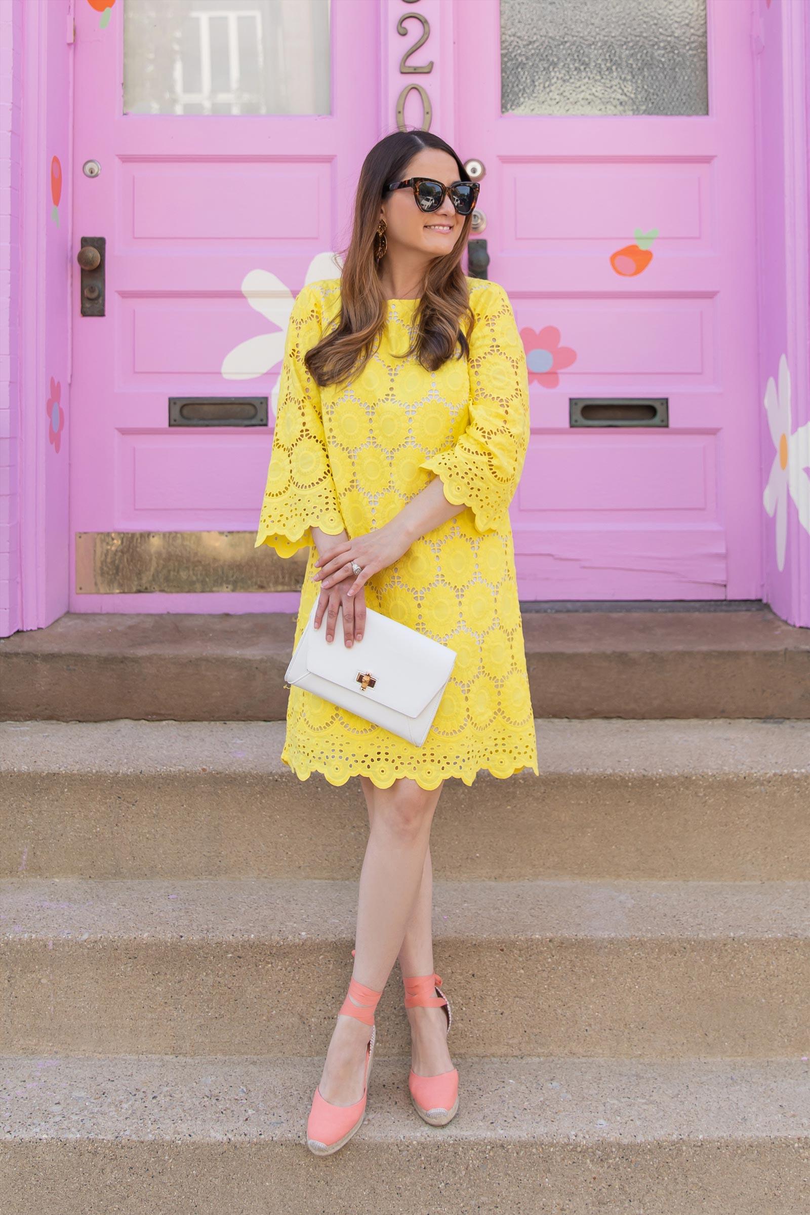 Jennifer Lake Lilly Pulitzer Yellow Scallop Dress