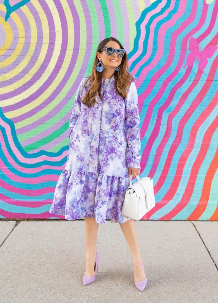 Jennifer Lake Purple Floral Coat