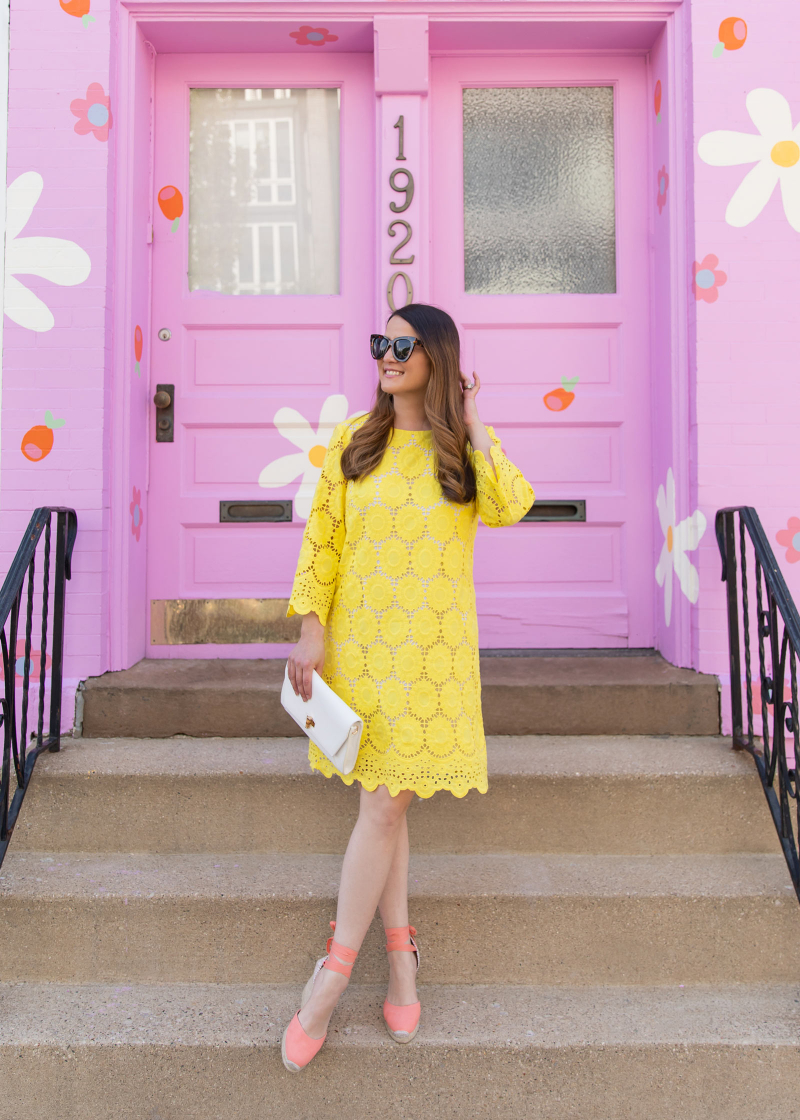 Lilly Pulitzer yellow Floral Scallop Eyelet Dress