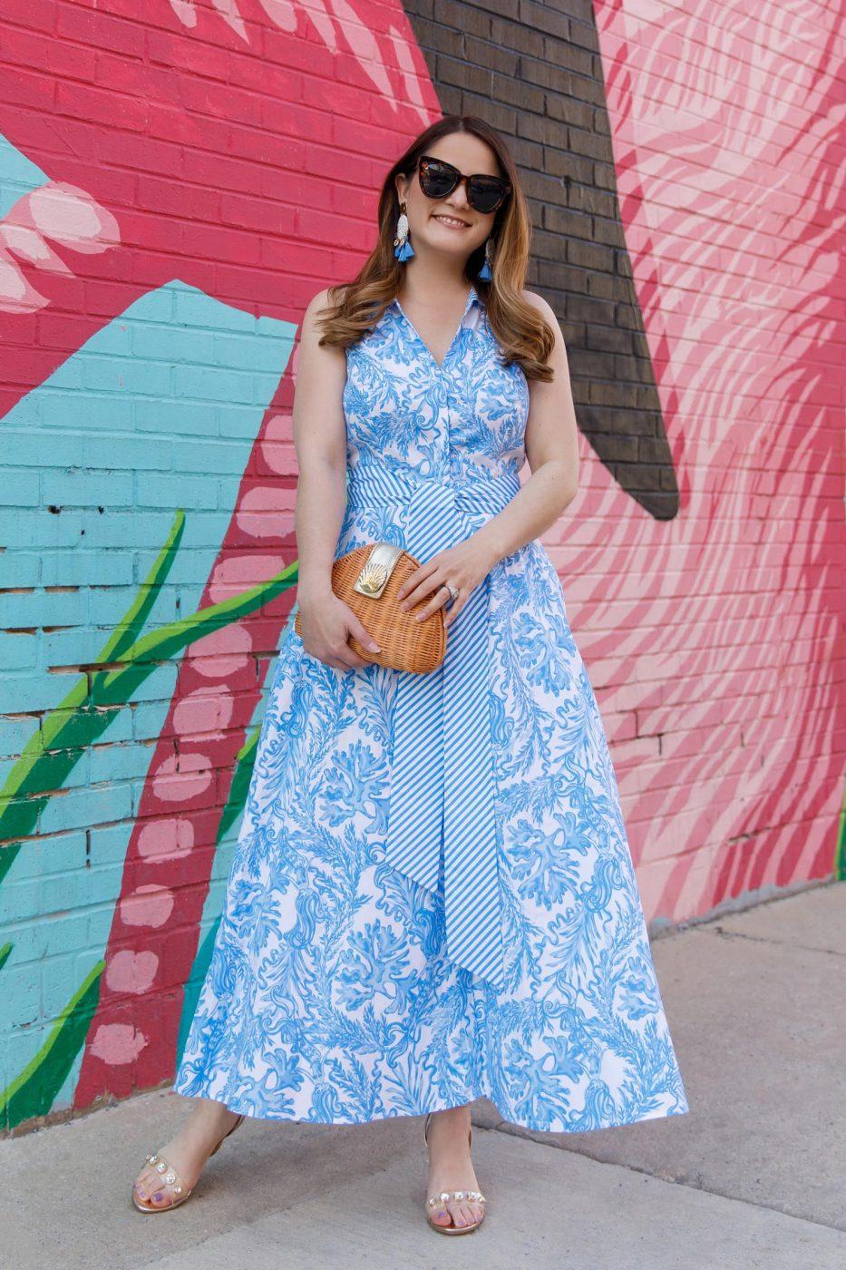Jennifer Lake Lilly Pulitzer Blue Midi Dress