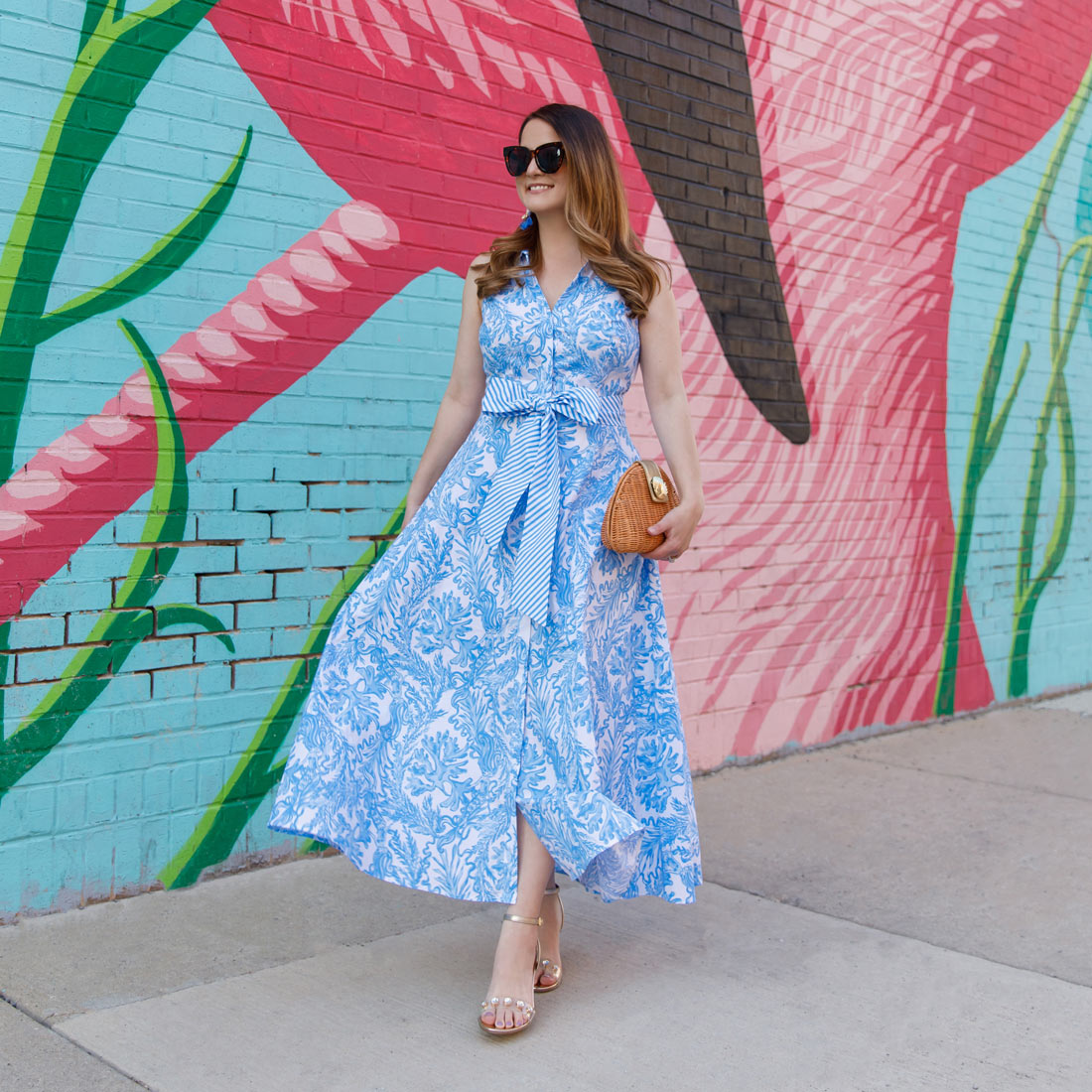Jennifer Lake Lilly Pulitzer Blue Shirtdress