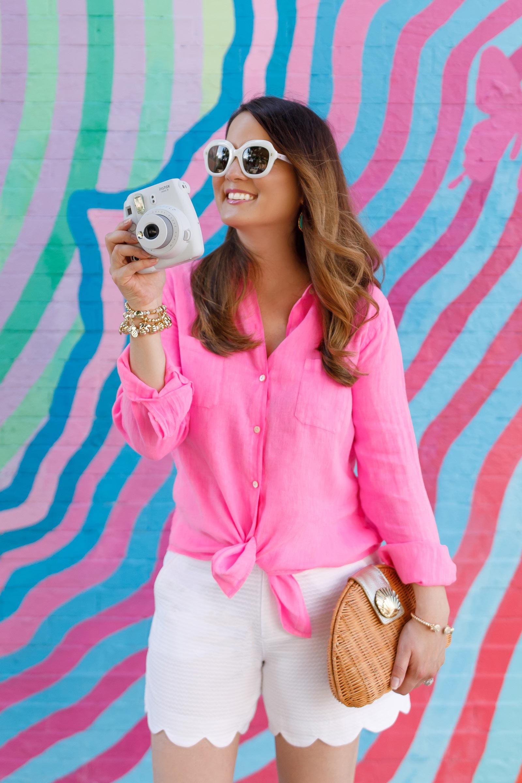 Jennifer Lake Lilly Pulitzer Pink Linen Shirt