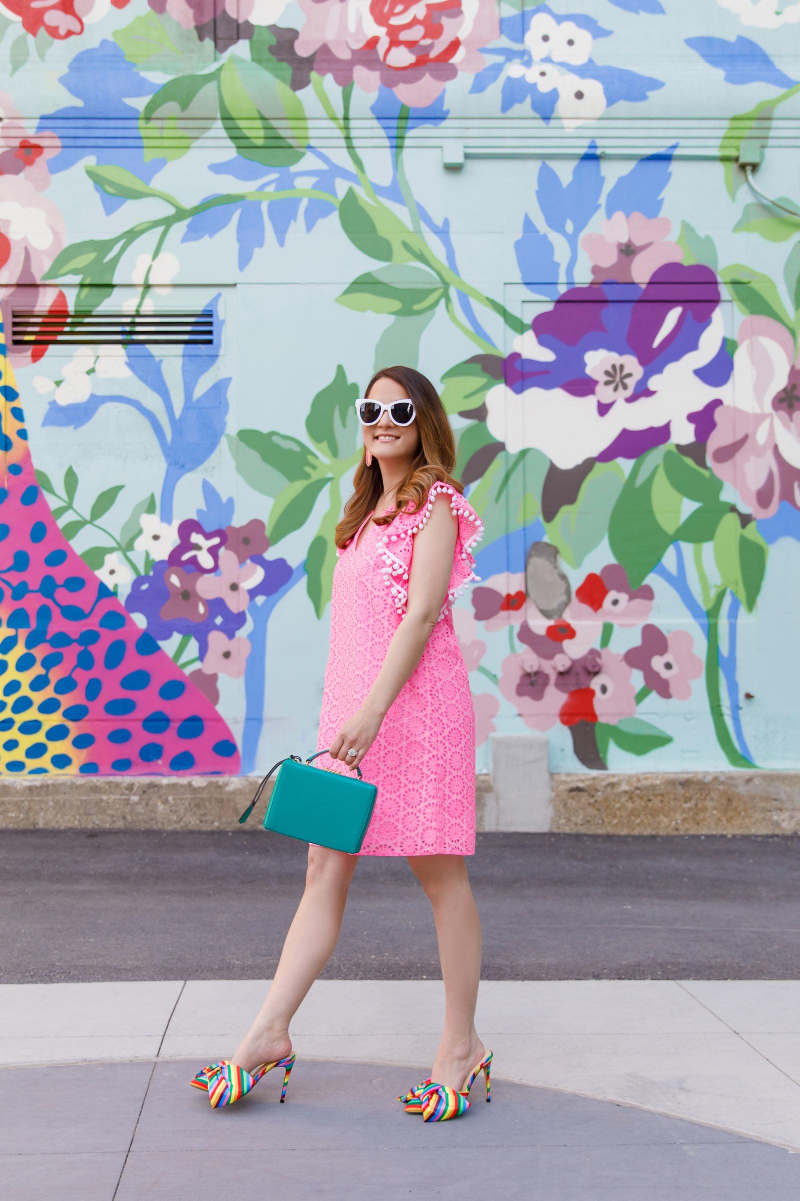 Jennifer Lake Pink Ruffle Sleeve Pink Dress