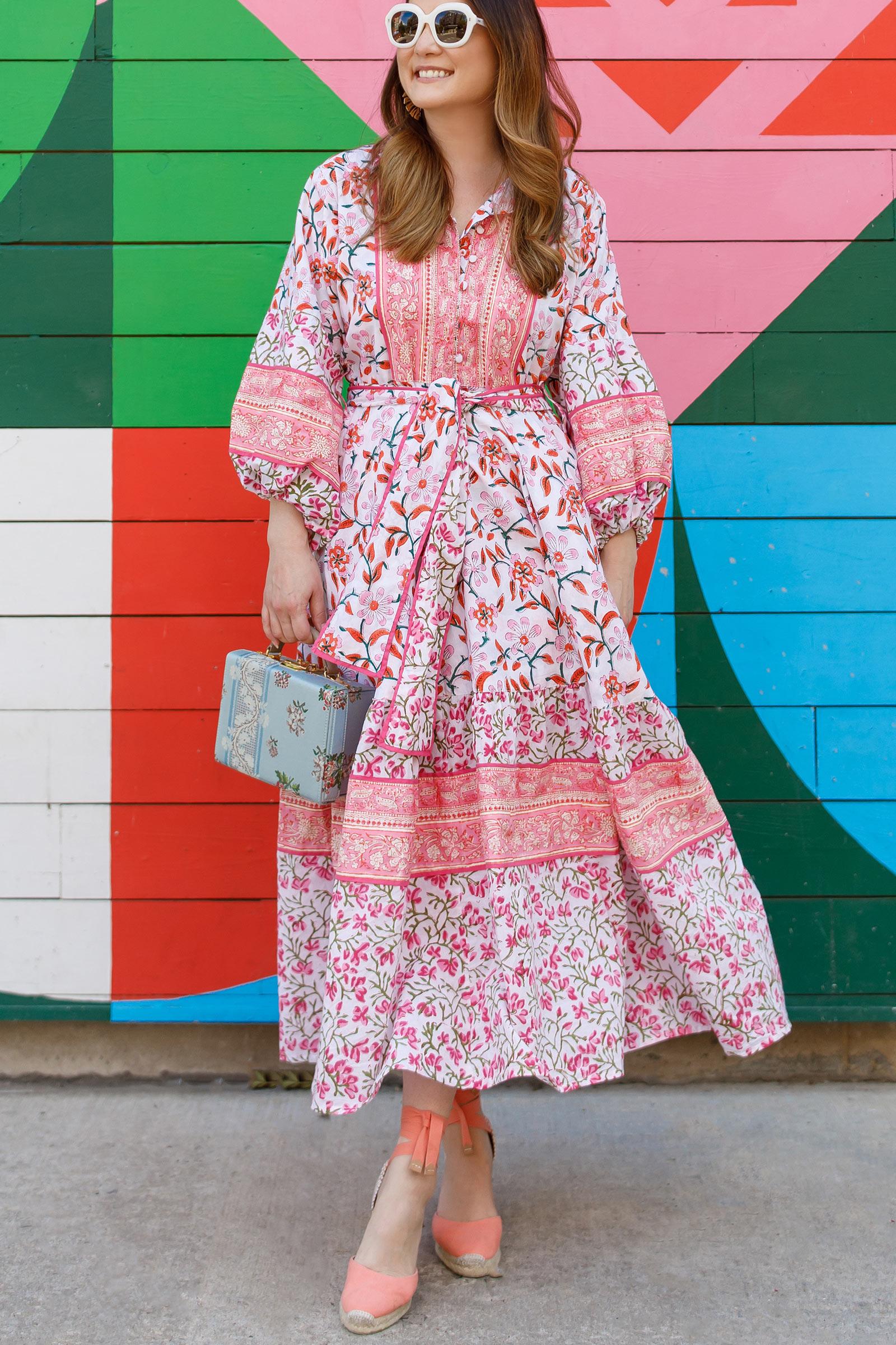 Jennifer Lake Sue Sartor Pink Floral Dress