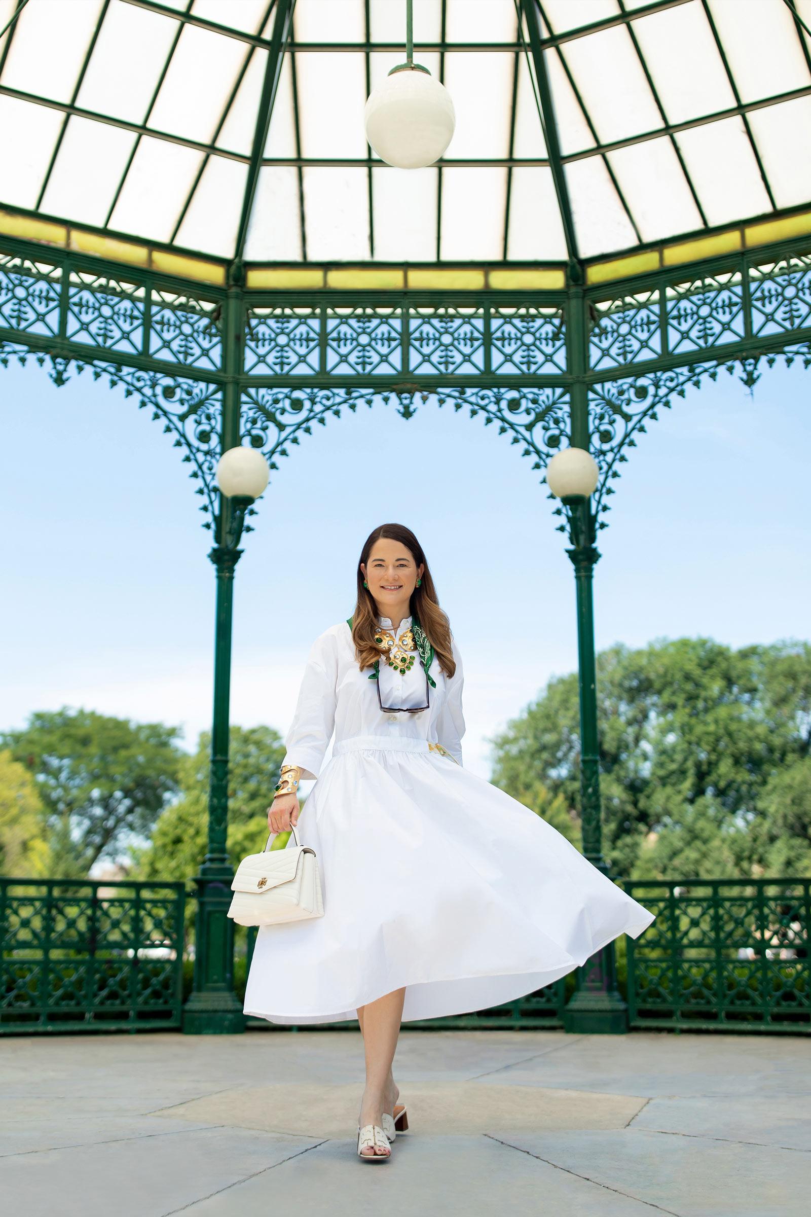 Jennifer Lake Tory Burch White Dress