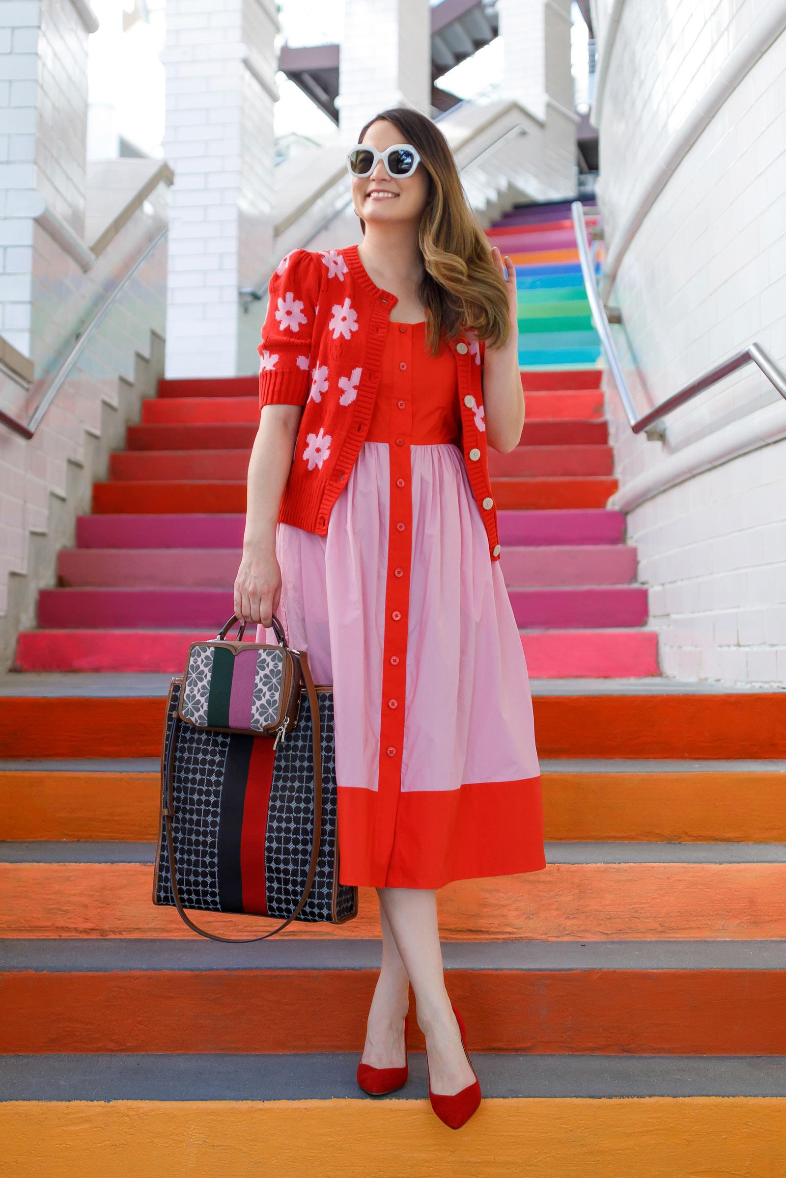 Kate Spade Red Pink Dress